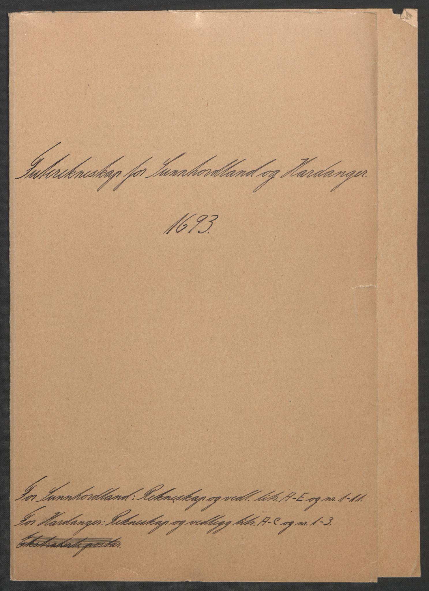 RA, Rentekammeret inntil 1814, Reviderte regnskaper, Fogderegnskap, R48/L2974: Fogderegnskap Sunnhordland og Hardanger, 1693, s. 3