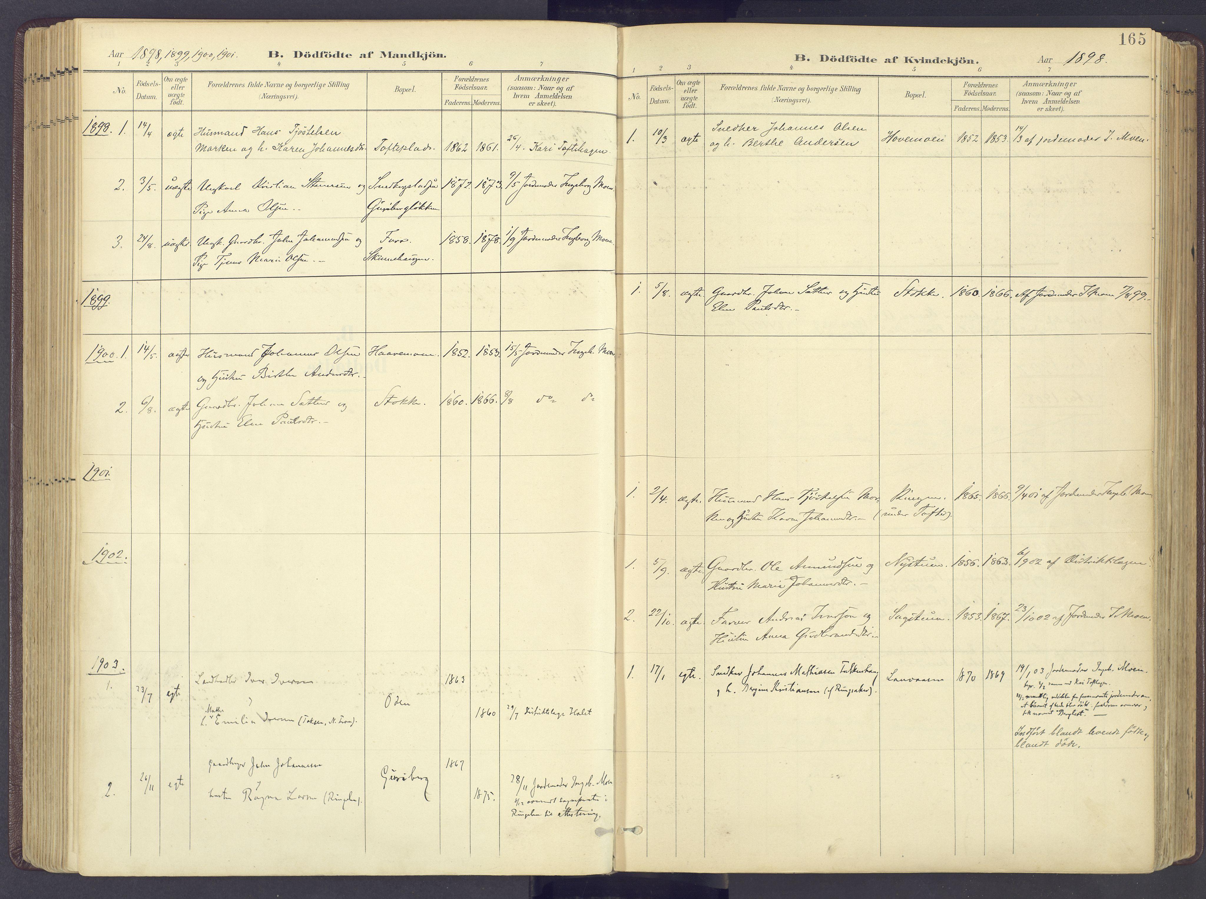 SAH, Sør-Fron prestekontor, H/Ha/Haa/L0004: Ministerialbok nr. 4, 1898-1919, s. 165