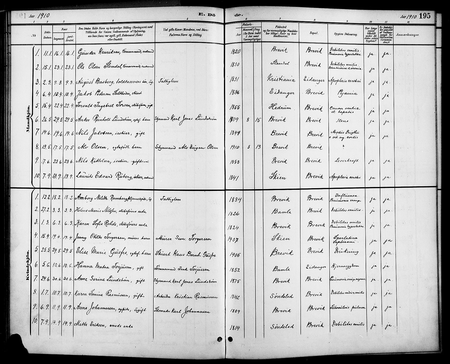 SAKO, Brevik kirkebøker, G/Ga/L0005: Klokkerbok nr. 5, 1901-1924, s. 195