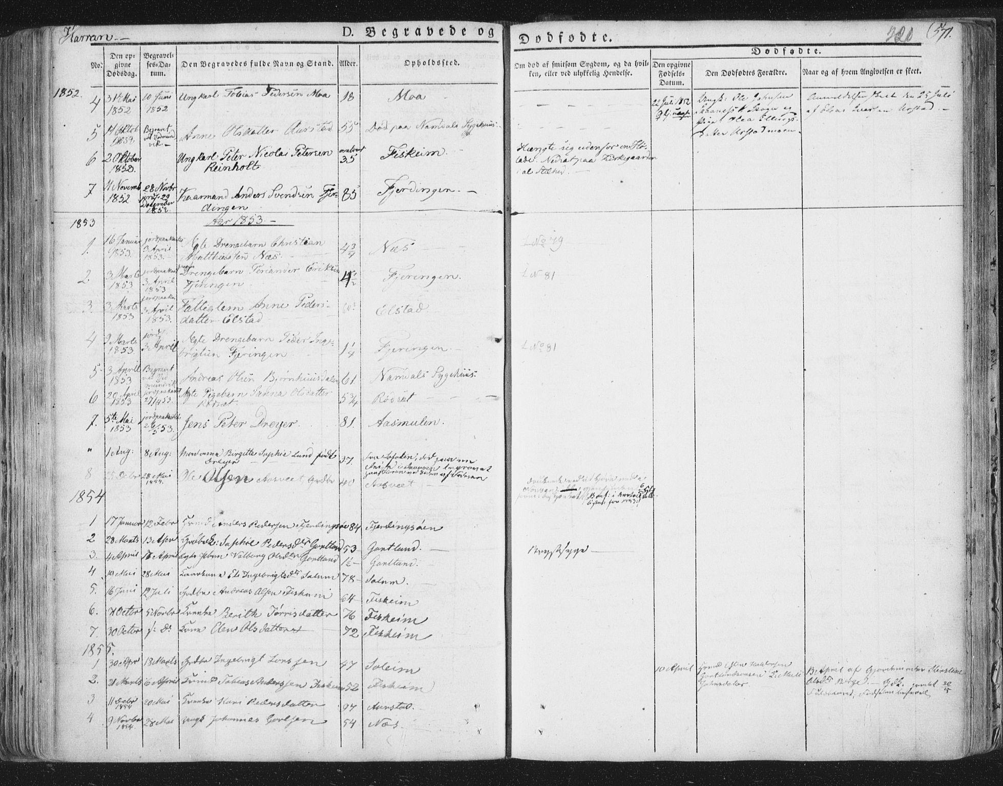 SAT, Ministerialprotokoller, klokkerbøker og fødselsregistre - Nord-Trøndelag, 758/L0513: Ministerialbok nr. 758A02 /3, 1839-1868, s. 220
