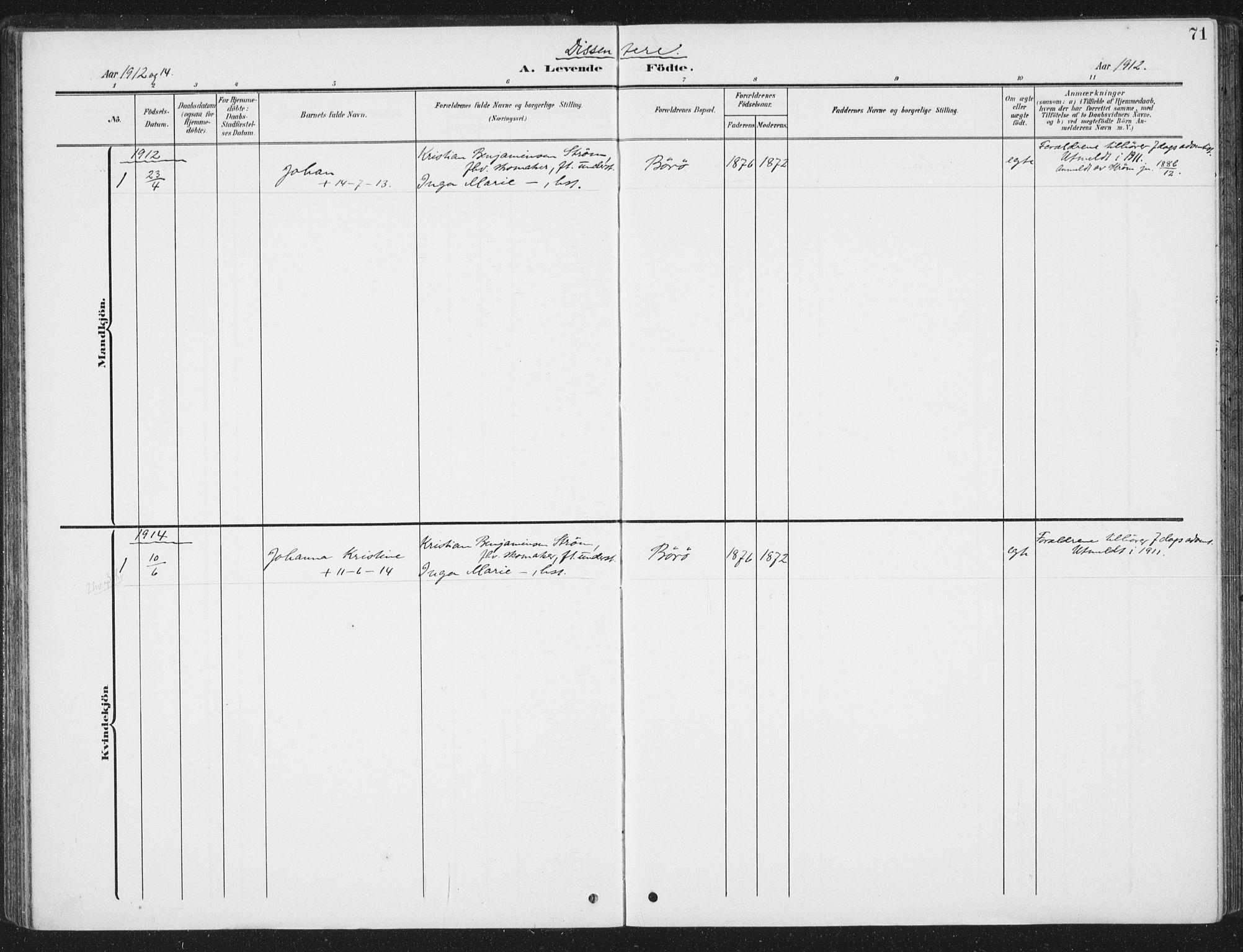 SAT, Ministerialprotokoller, klokkerbøker og fødselsregistre - Sør-Trøndelag, 657/L0709: Ministerialbok nr. 657A10, 1905-1919, s. 71