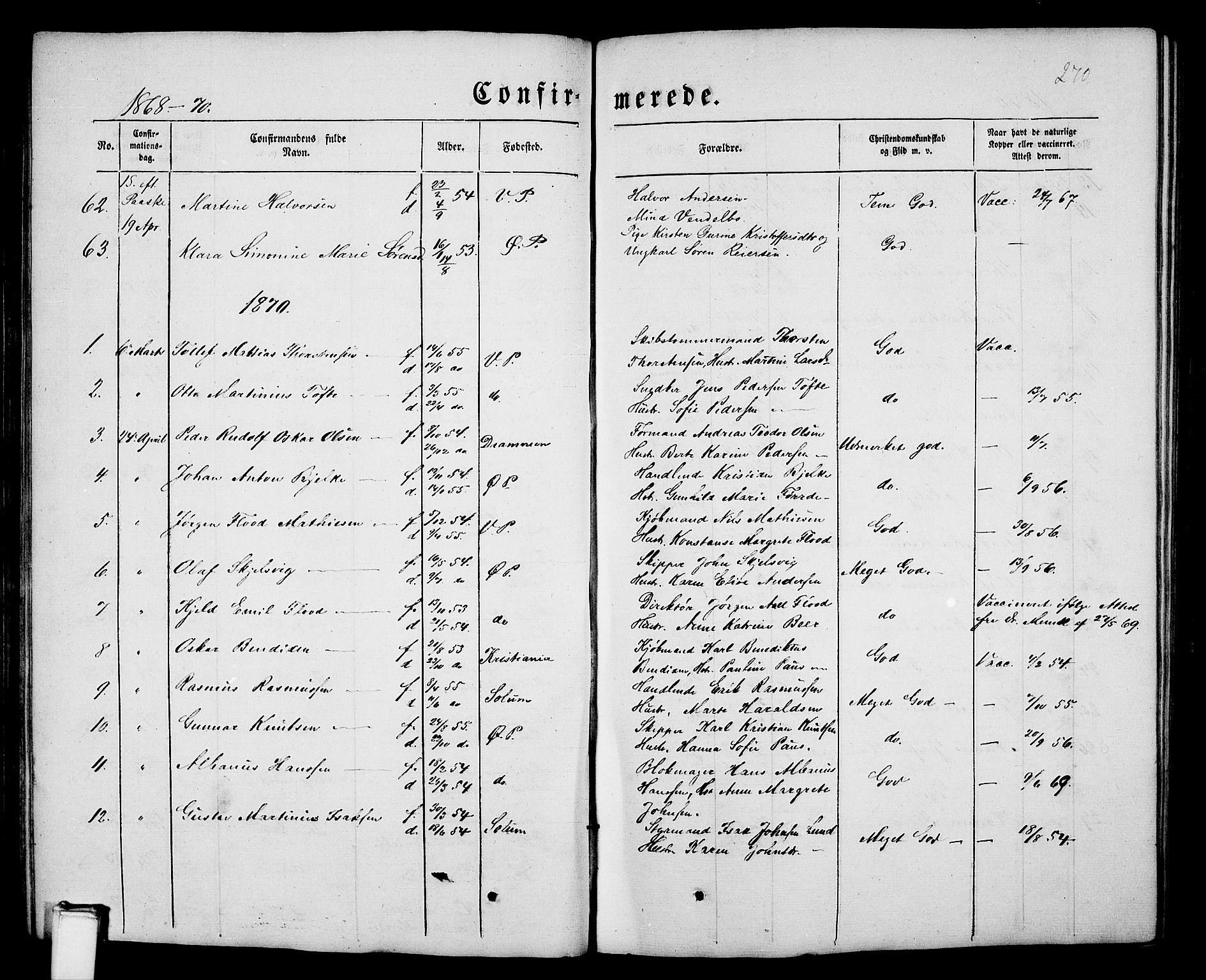 SAKO, Porsgrunn kirkebøker , G/Gb/L0004: Klokkerbok nr. II 4, 1853-1882, s. 270