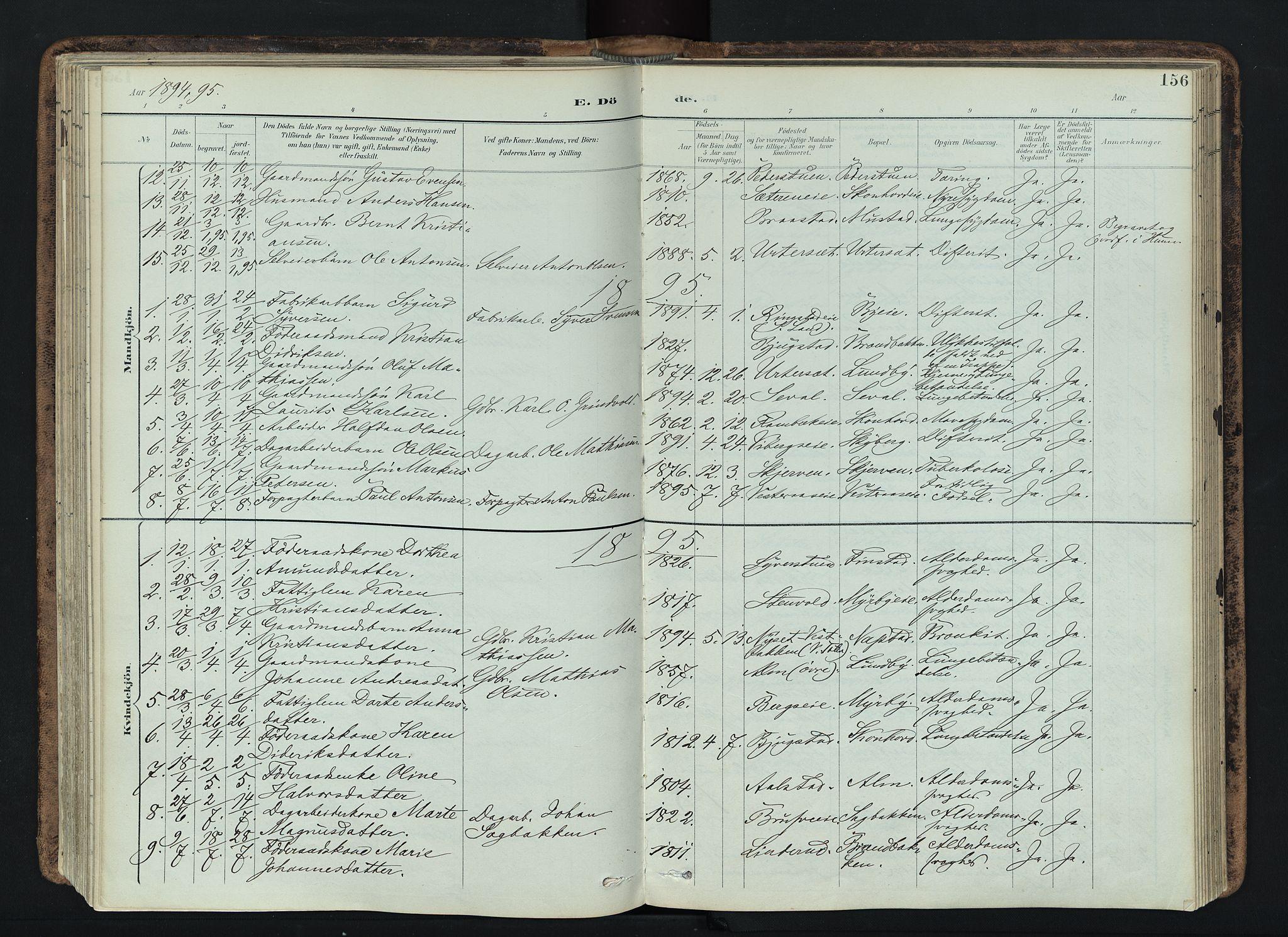 SAH, Vardal prestekontor, H/Ha/Haa/L0019: Ministerialbok nr. 19, 1893-1907, s. 156