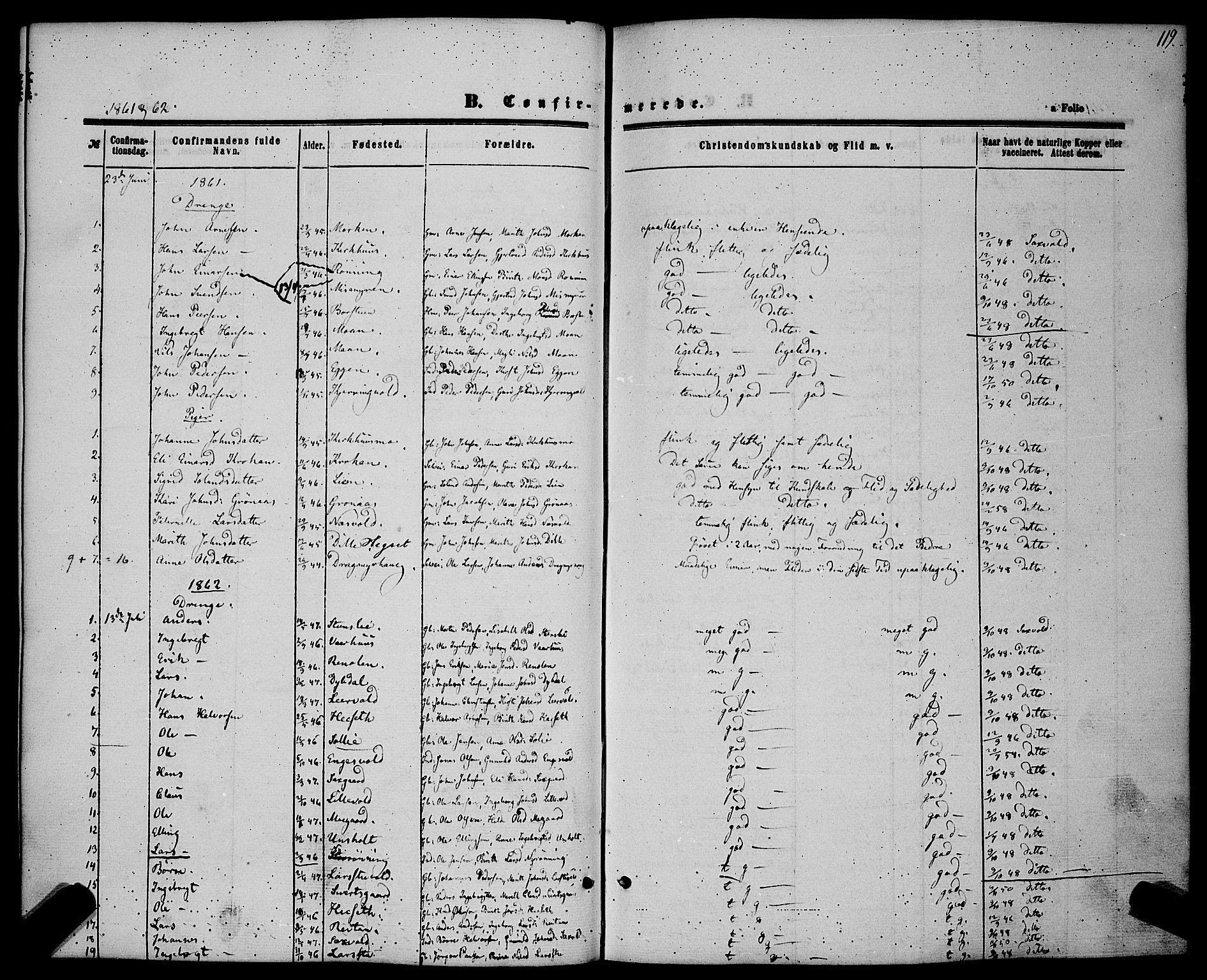 SAT, Ministerialprotokoller, klokkerbøker og fødselsregistre - Sør-Trøndelag, 685/L0968: Ministerialbok nr. 685A07 /3, 1860-1869, s. 119