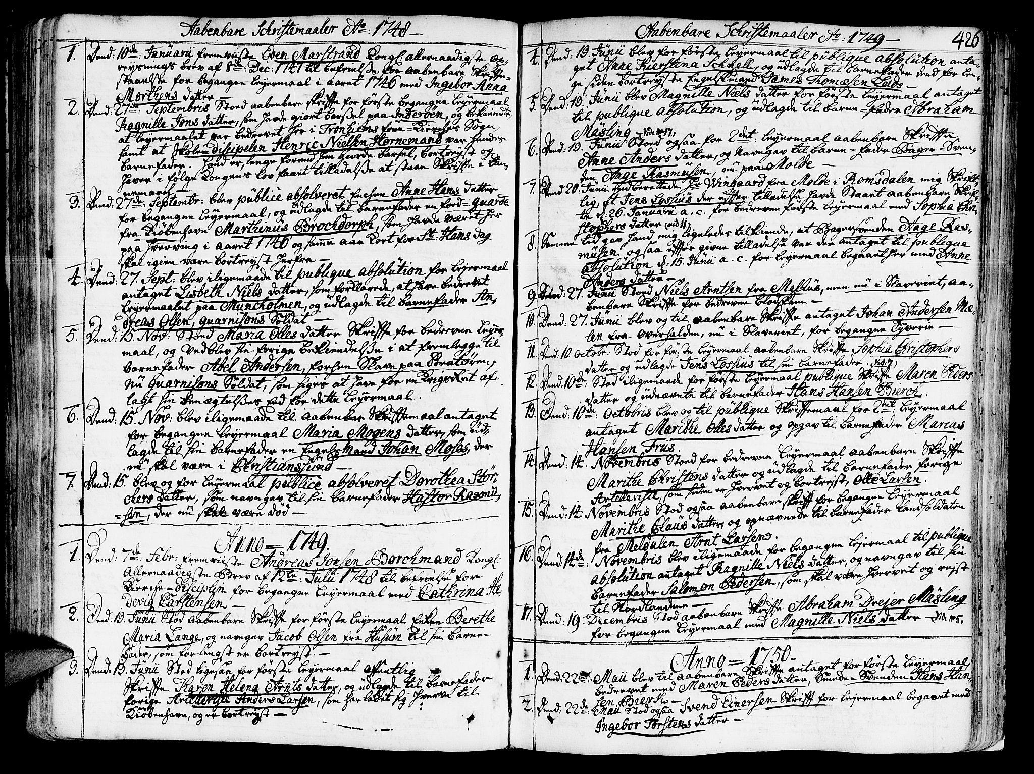 SAT, Ministerialprotokoller, klokkerbøker og fødselsregistre - Sør-Trøndelag, 602/L0103: Ministerialbok nr. 602A01, 1732-1774, s. 426