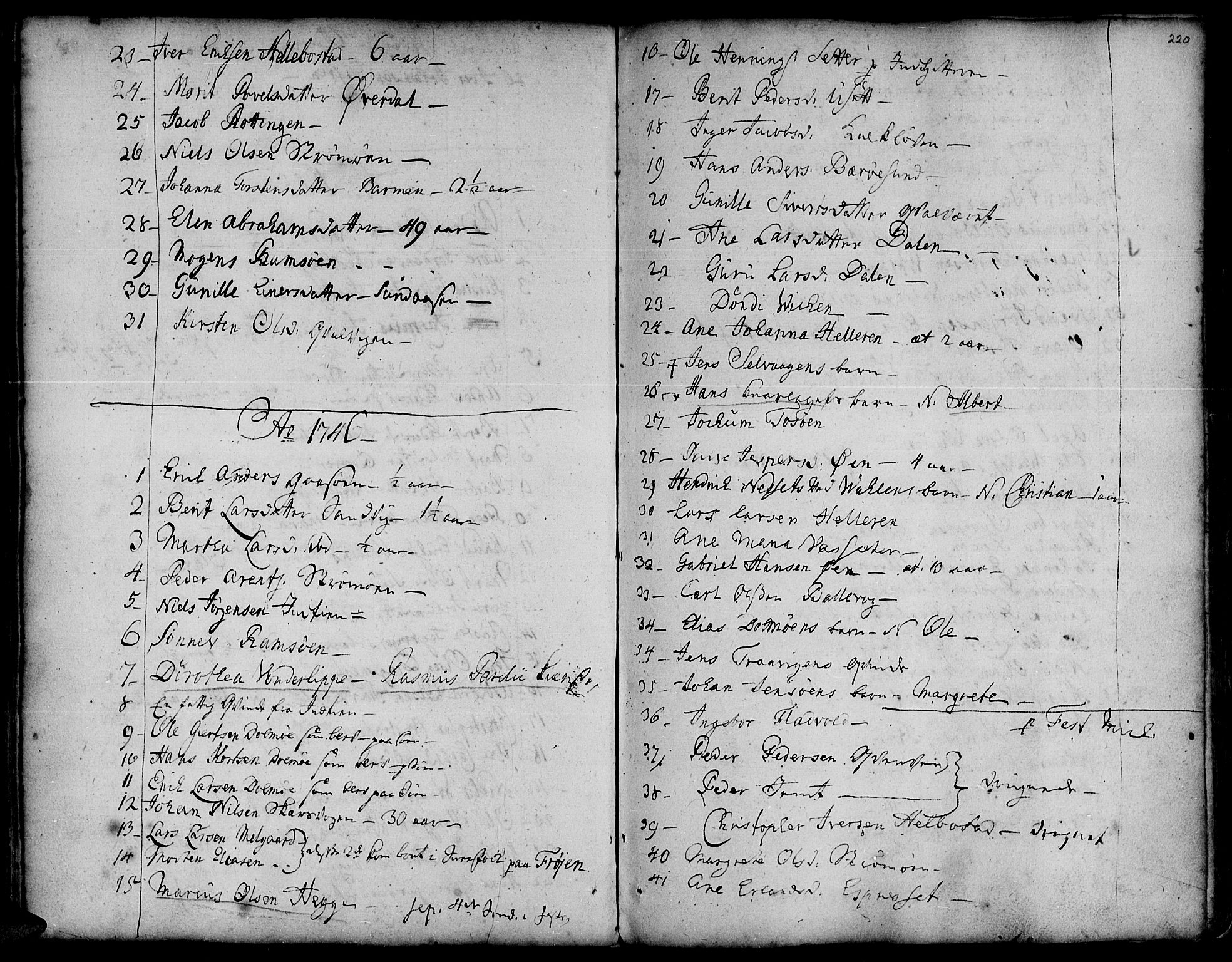 SAT, Ministerialprotokoller, klokkerbøker og fødselsregistre - Sør-Trøndelag, 634/L0525: Ministerialbok nr. 634A01, 1736-1775, s. 220