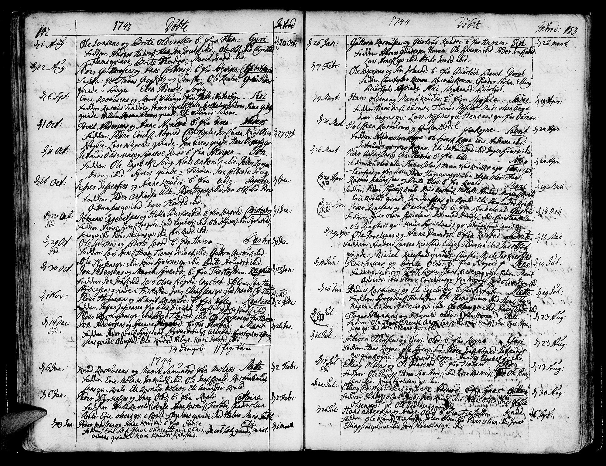SAT, Ministerialprotokoller, klokkerbøker og fødselsregistre - Møre og Romsdal, 536/L0493: Ministerialbok nr. 536A02, 1739-1802, s. 152-153