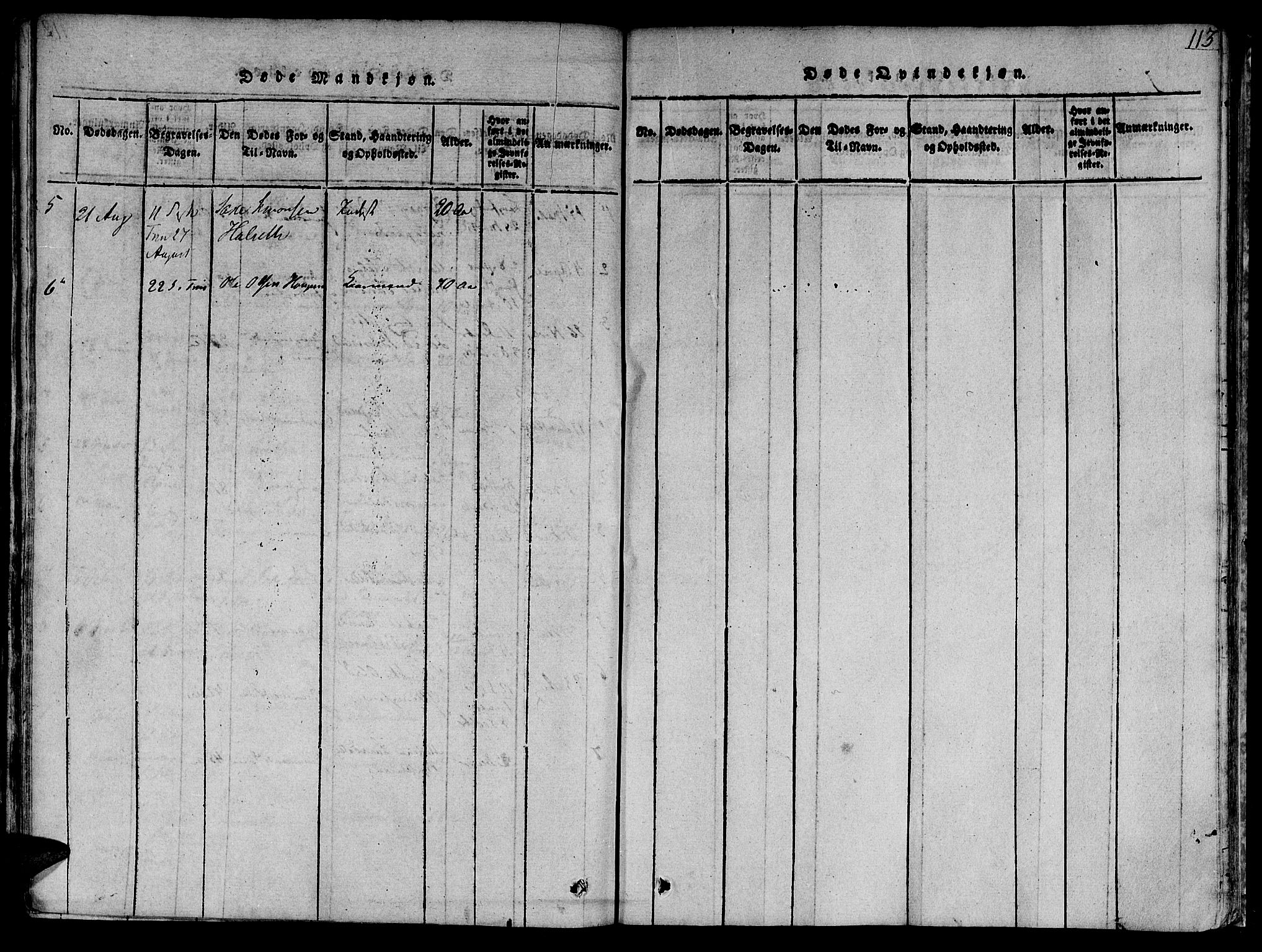 SAT, Ministerialprotokoller, klokkerbøker og fødselsregistre - Sør-Trøndelag, 618/L0439: Ministerialbok nr. 618A04 /1, 1816-1843, s. 113
