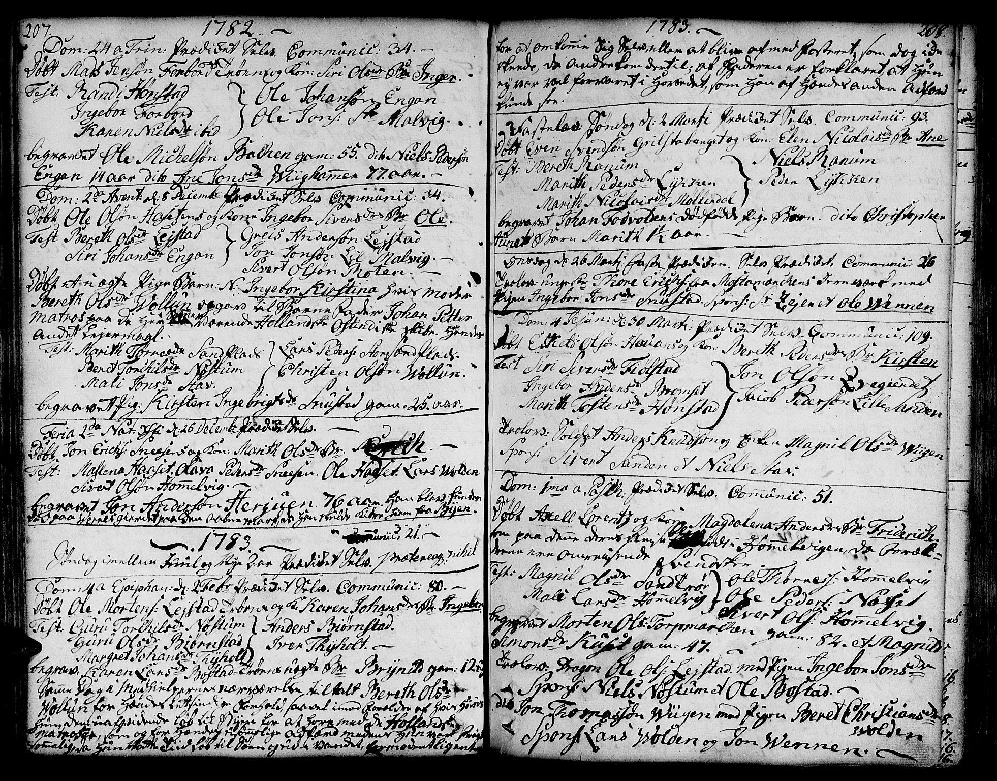 SAT, Ministerialprotokoller, klokkerbøker og fødselsregistre - Sør-Trøndelag, 606/L0281: Ministerialbok nr. 606A02 /2, 1781-1817, s. 207-208