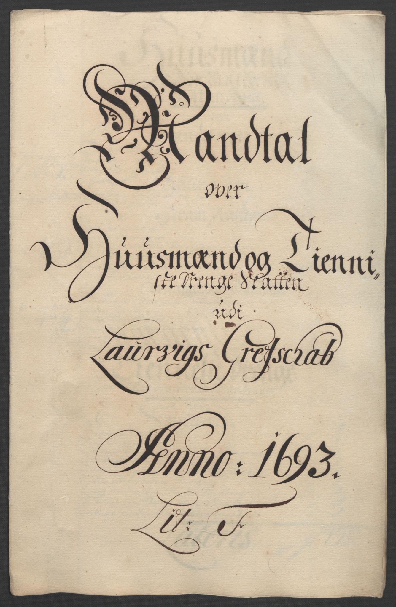 RA, Rentekammeret inntil 1814, Reviderte regnskaper, Fogderegnskap, R33/L1974: Fogderegnskap Larvik grevskap, 1693-1695, s. 54