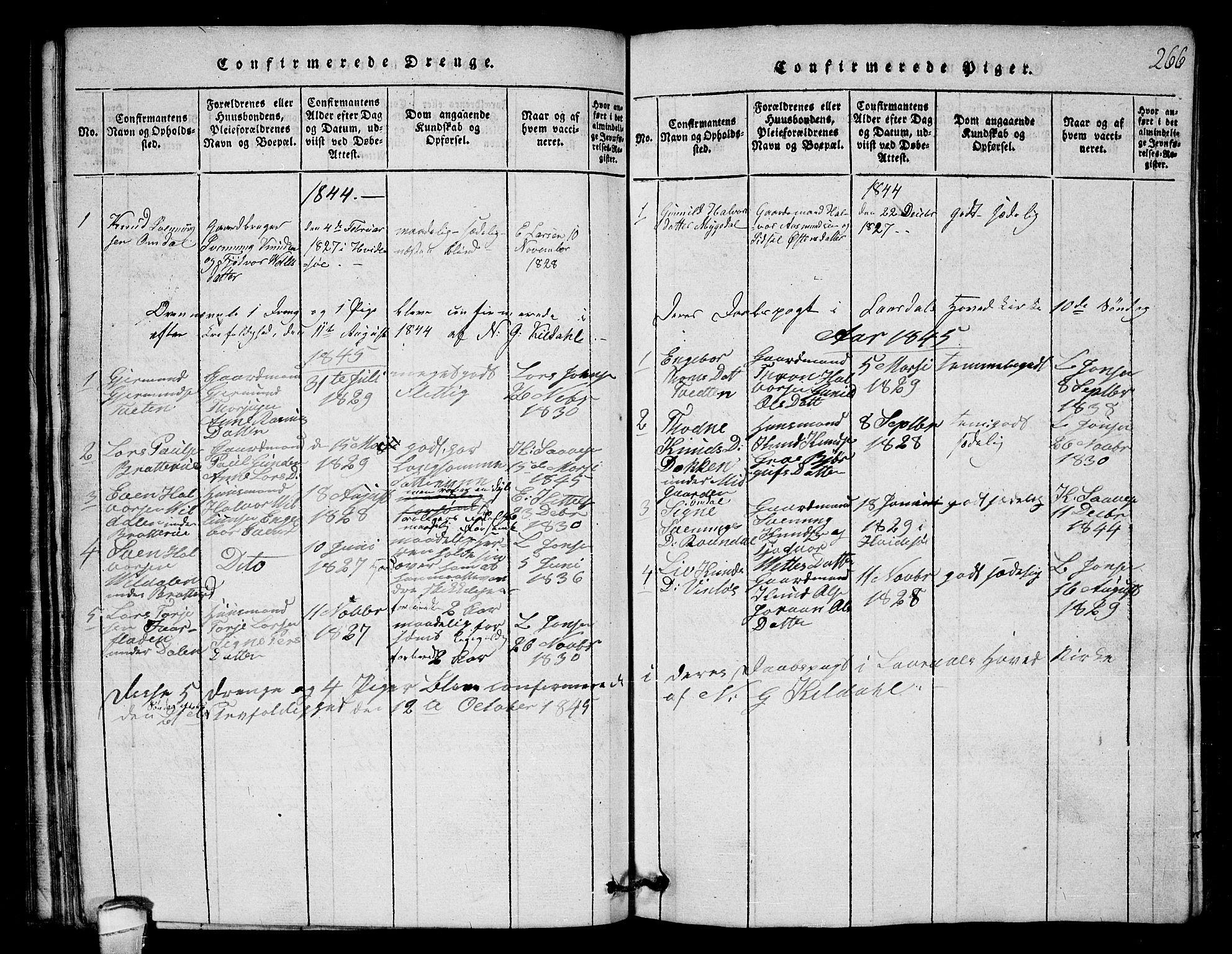 SAKO, Lårdal kirkebøker, G/Gb/L0001: Klokkerbok nr. II 1, 1815-1865, s. 266
