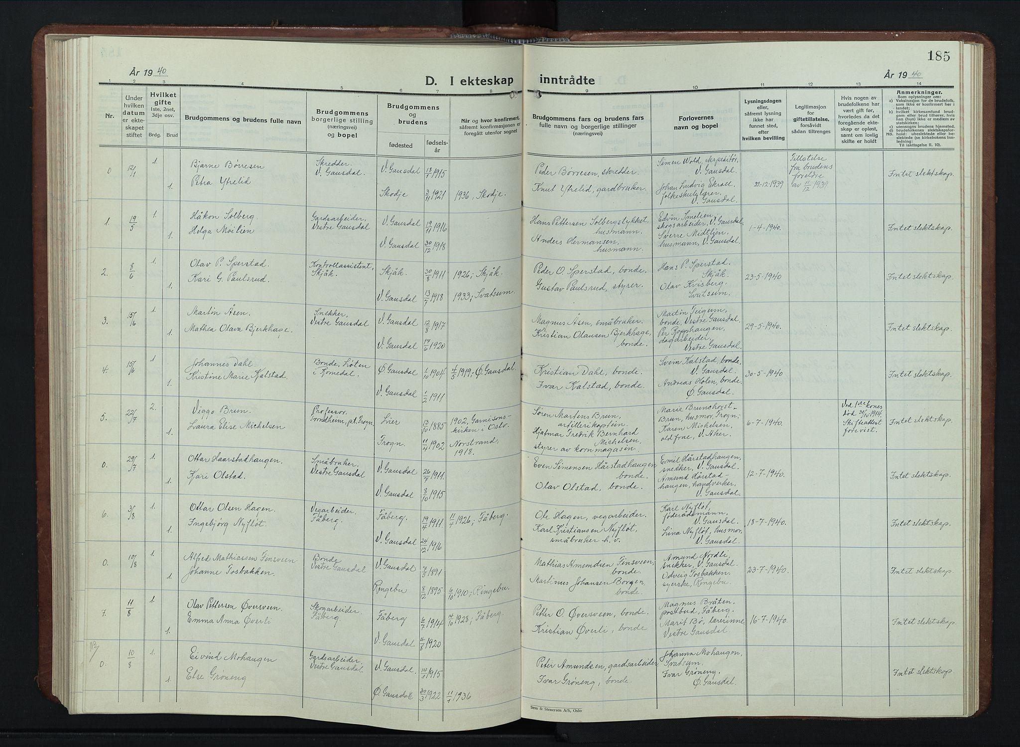 SAH, Vestre Gausdal prestekontor, Klokkerbok nr. 5, 1926-1955, s. 185