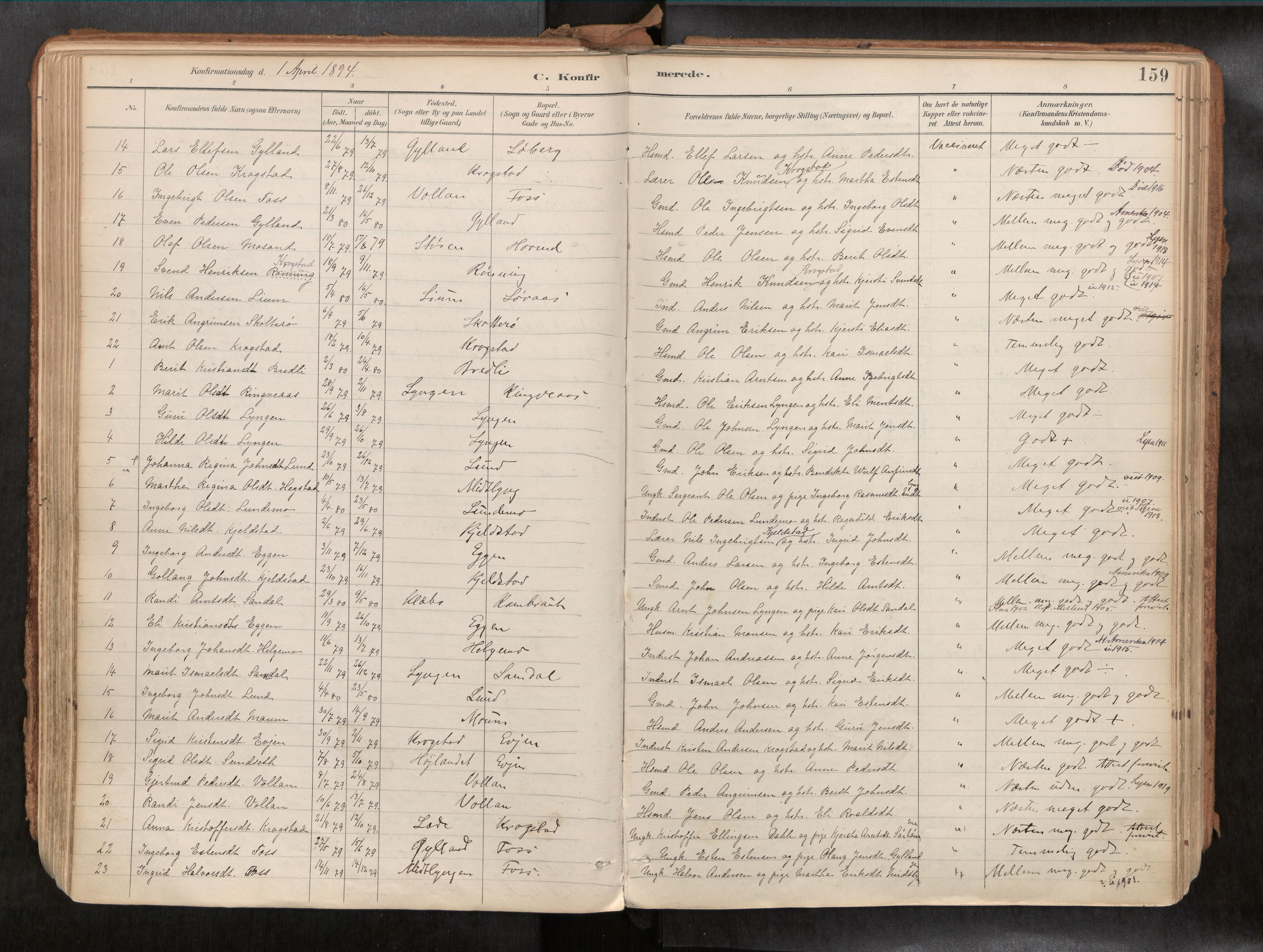 SAT, Ministerialprotokoller, klokkerbøker og fødselsregistre - Sør-Trøndelag, 692/L1105b: Ministerialbok nr. 692A06, 1891-1934, s. 159