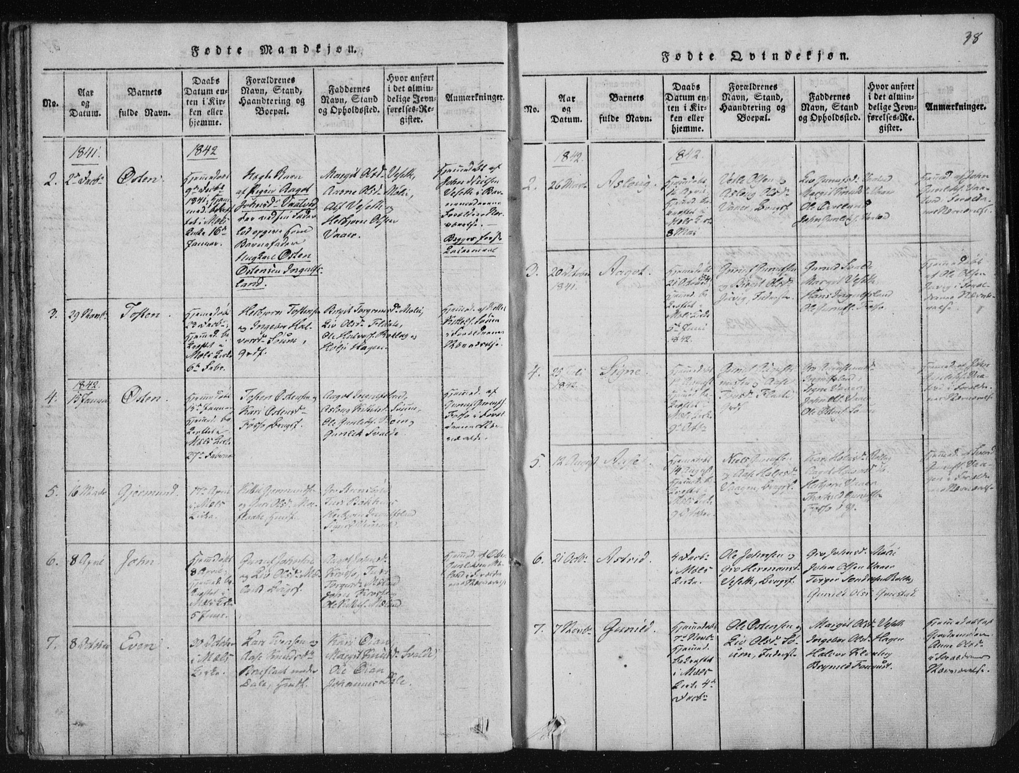 SAKO, Tinn kirkebøker, F/Fc/L0001: Ministerialbok nr. III 1, 1815-1843, s. 38