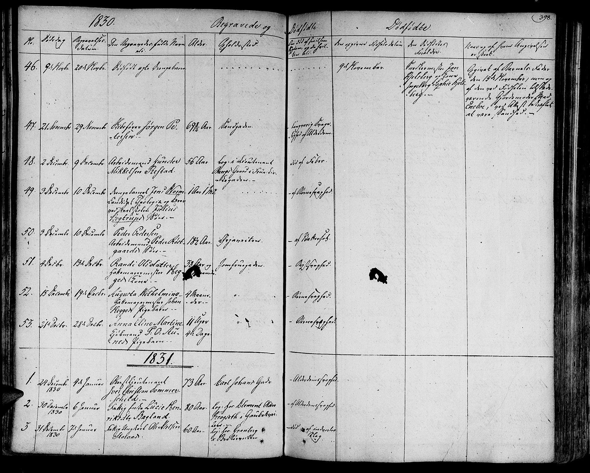 SAT, Ministerialprotokoller, klokkerbøker og fødselsregistre - Sør-Trøndelag, 602/L0109: Ministerialbok nr. 602A07, 1821-1840, s. 398