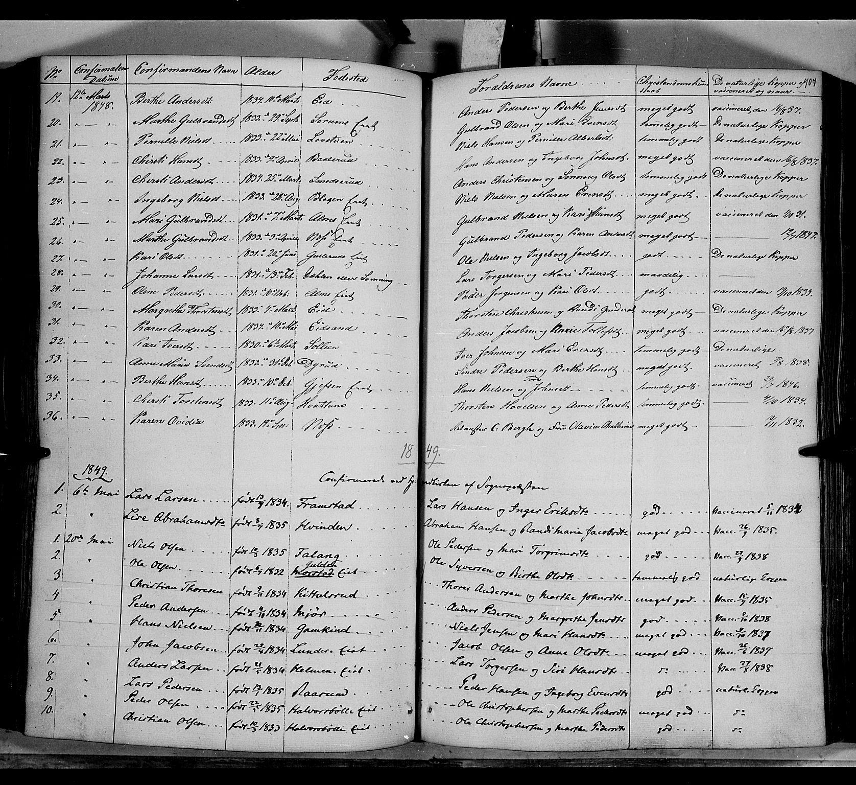 SAH, Gran prestekontor, Ministerialbok nr. 11, 1842-1856, s. 706-707