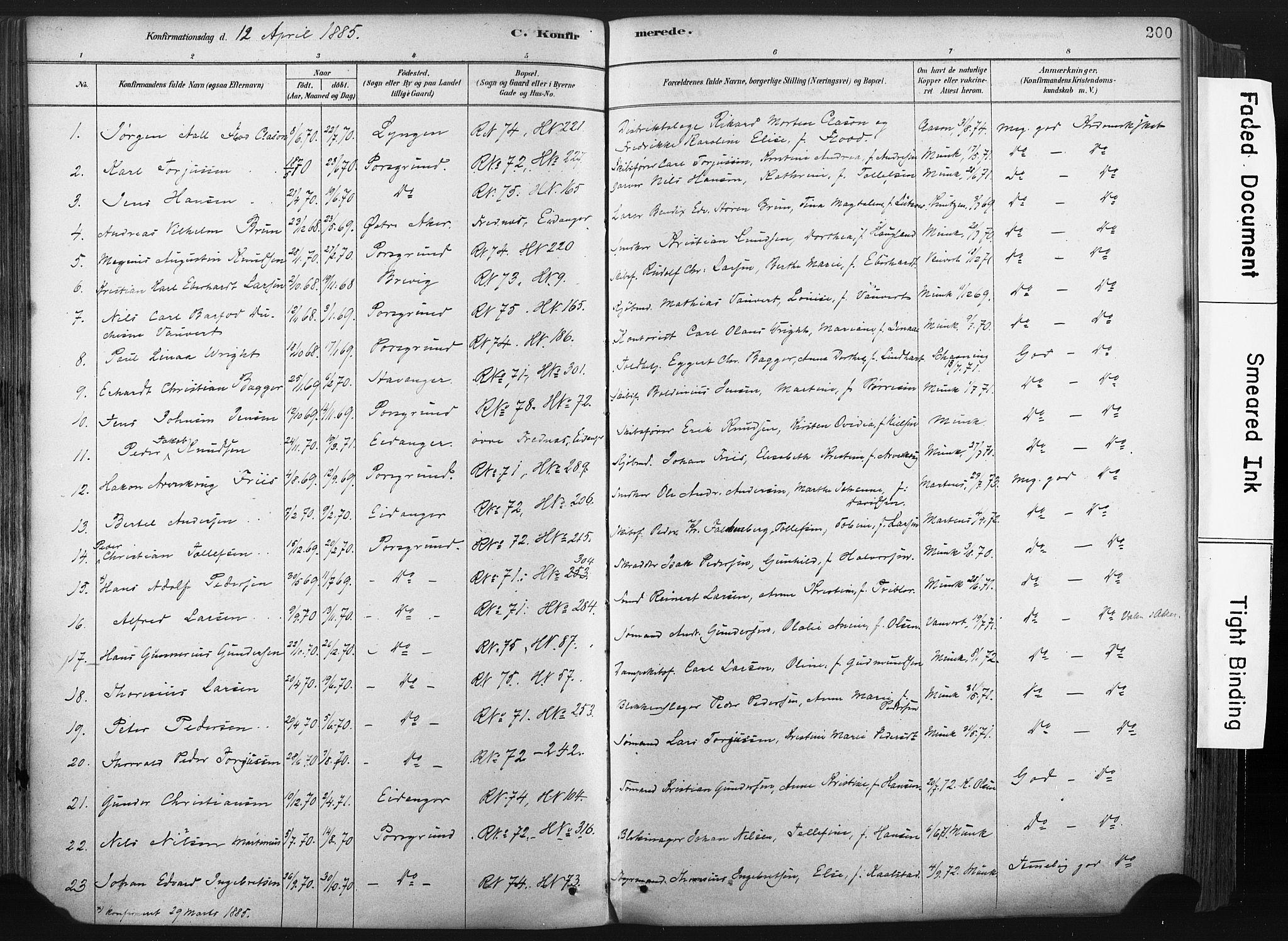 SAKO, Porsgrunn kirkebøker , F/Fa/L0008: Ministerialbok nr. 8, 1878-1895, s. 200