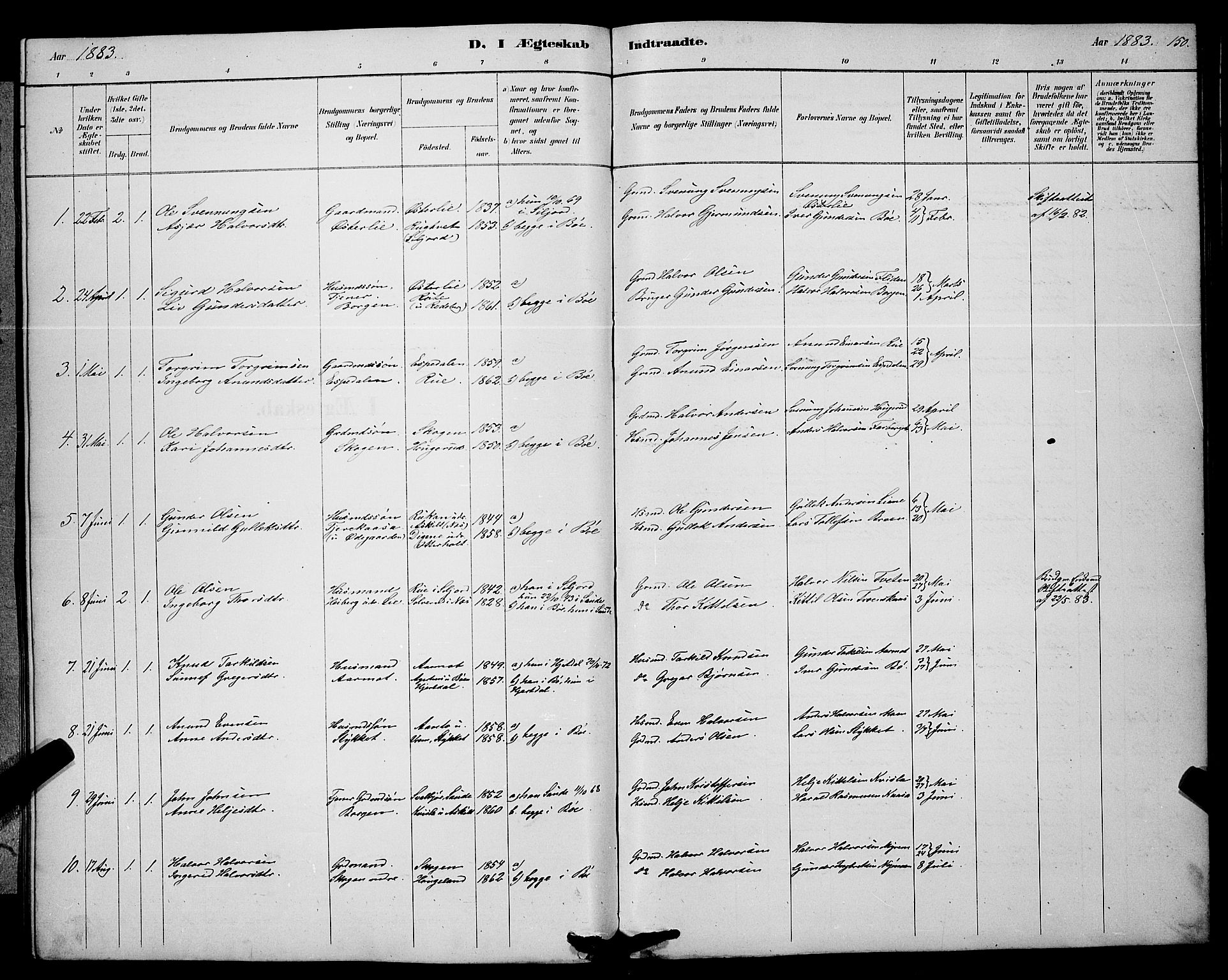 SAKO, Bø kirkebøker, G/Ga/L0005: Klokkerbok nr. 5, 1883-1897, s. 150