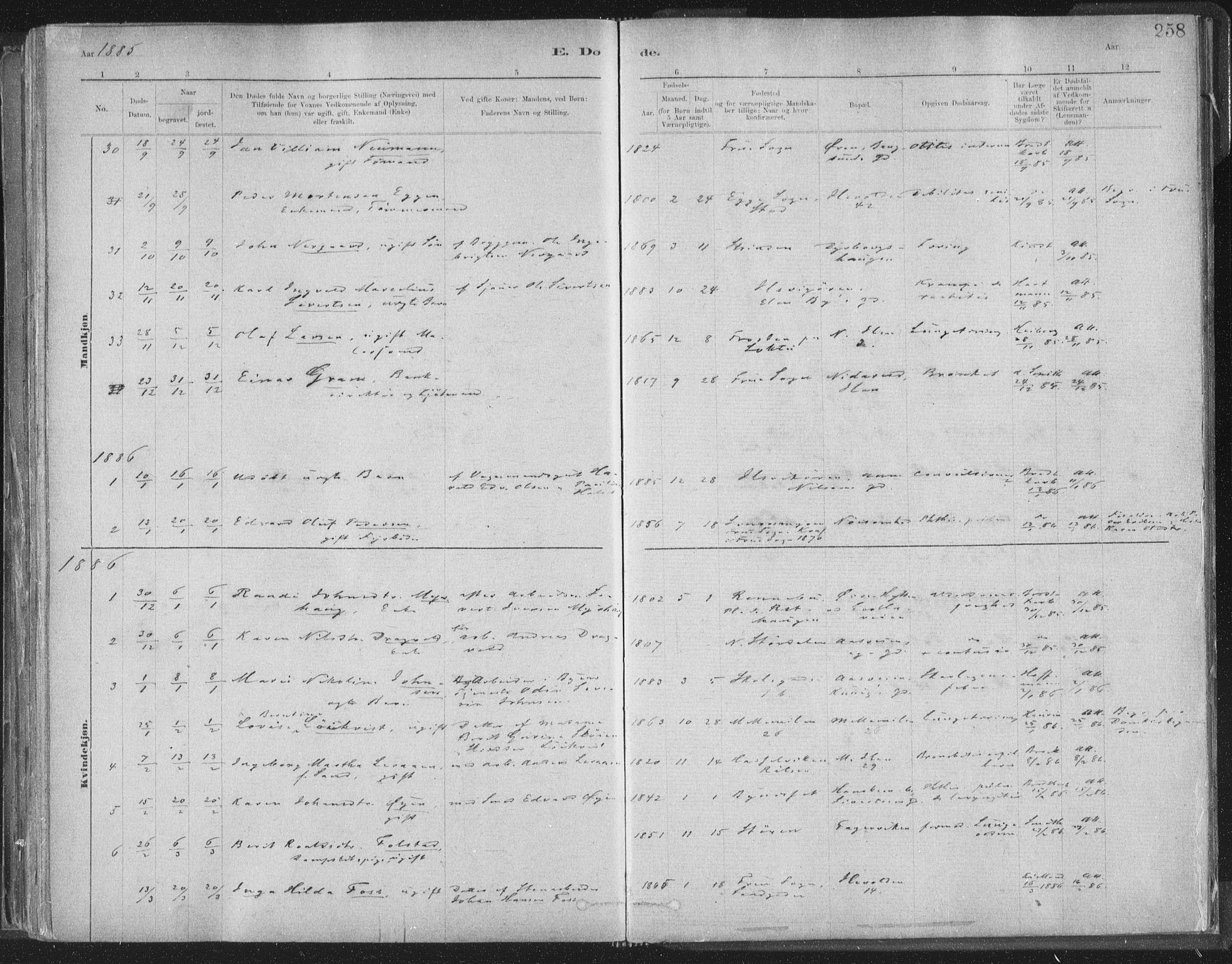 SAT, Ministerialprotokoller, klokkerbøker og fødselsregistre - Sør-Trøndelag, 603/L0162: Ministerialbok nr. 603A01, 1879-1895, s. 258