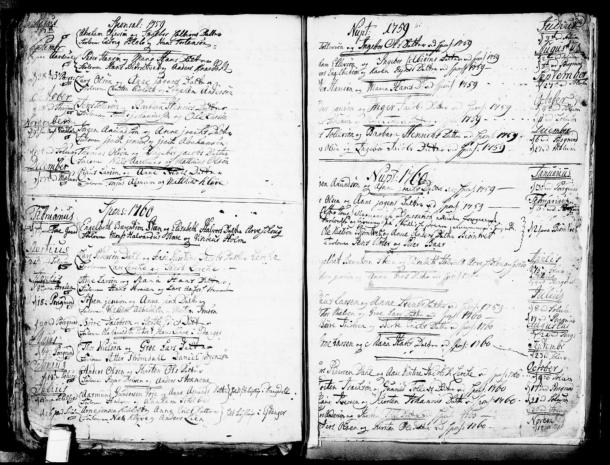 SAKO, Solum kirkebøker, F/Fa/L0002: Ministerialbok nr. I 2, 1713-1761, s. 208