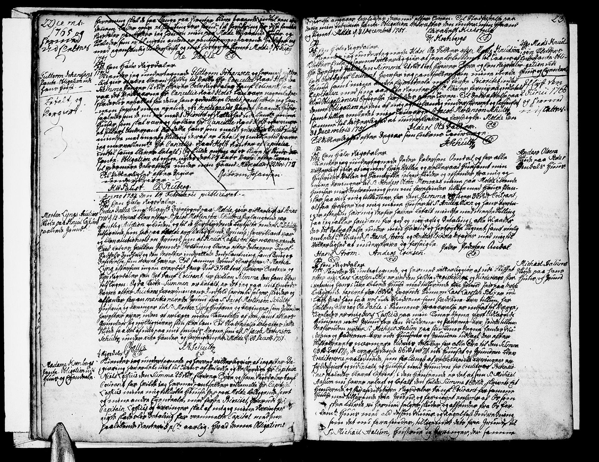 SAT, Molde byfogd, 2C/L0001: Pantebok nr. 1, 1748-1823, s. 22-23