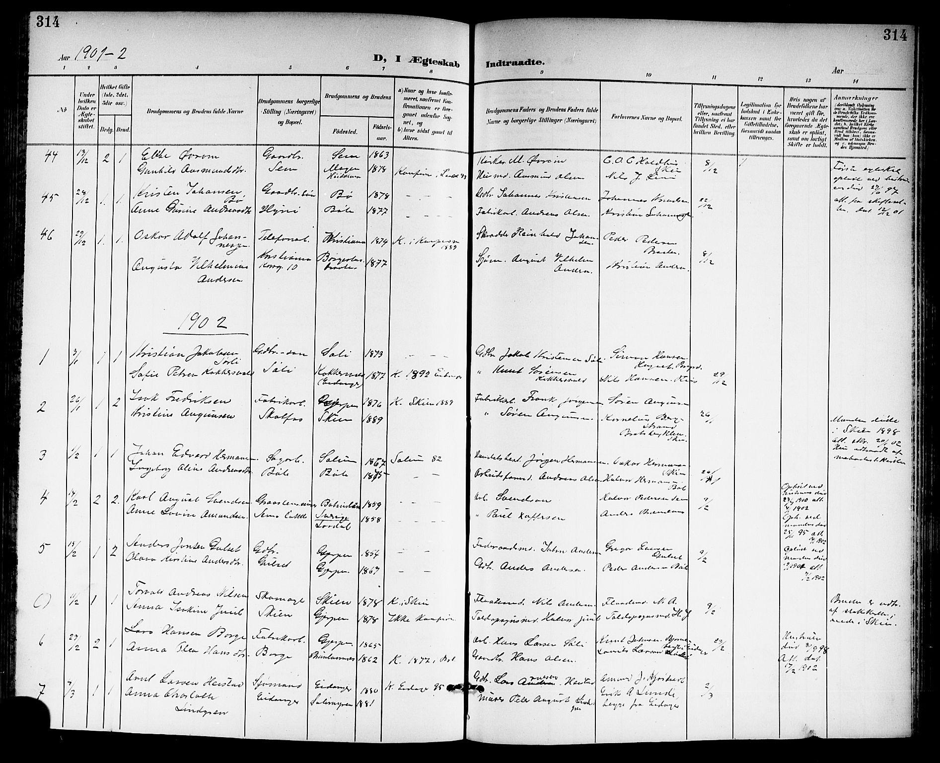 SAKO, Gjerpen kirkebøker, G/Ga/L0003: Klokkerbok nr. I 3, 1901-1919, s. 314