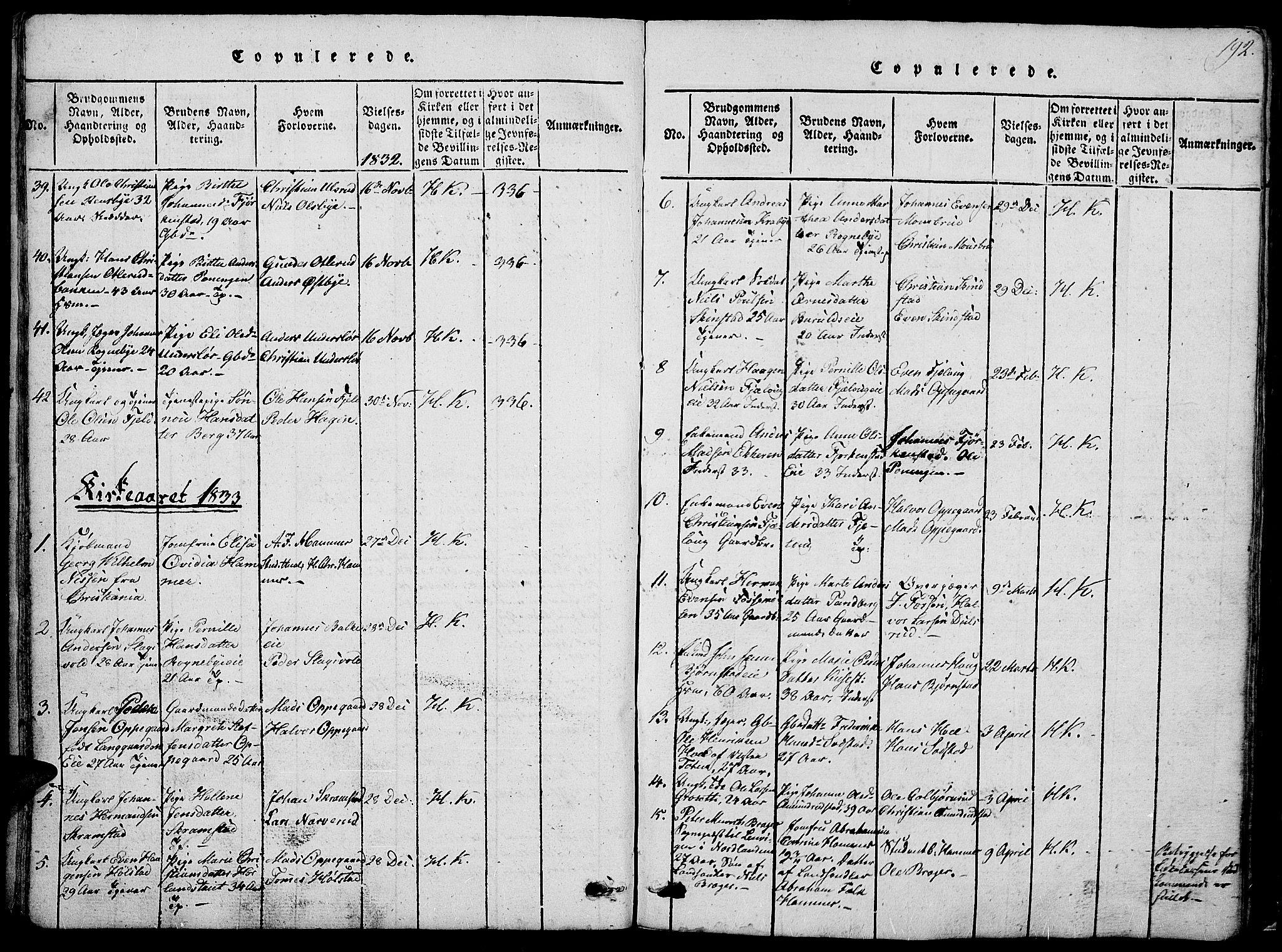 SAH, Østre Toten prestekontor, Klokkerbok nr. 1, 1827-1839, s. 192