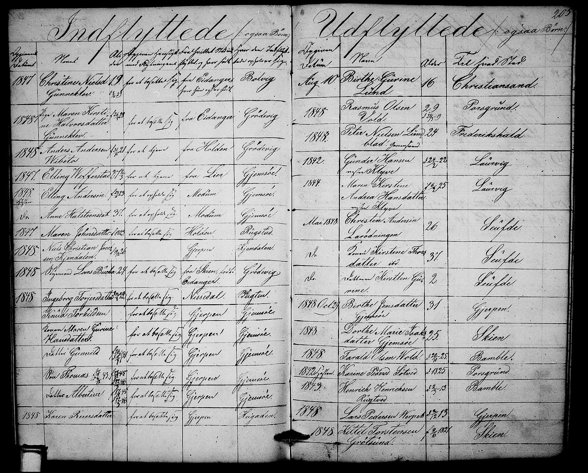 SAKO, Solum kirkebøker, G/Ga/L0003: Klokkerbok nr. I 3, 1848-1859, s. 205