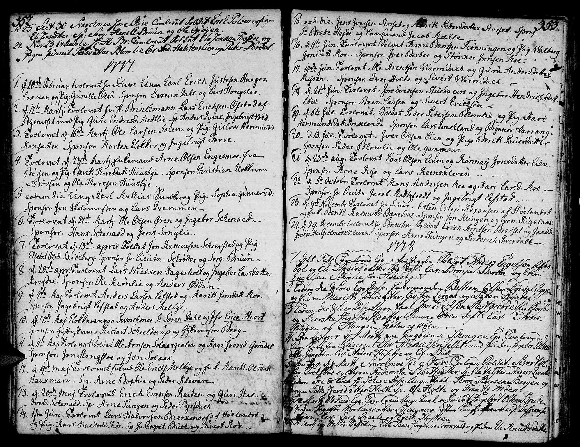 SAT, Ministerialprotokoller, klokkerbøker og fødselsregistre - Sør-Trøndelag, 668/L0802: Ministerialbok nr. 668A02, 1776-1799, s. 352-353