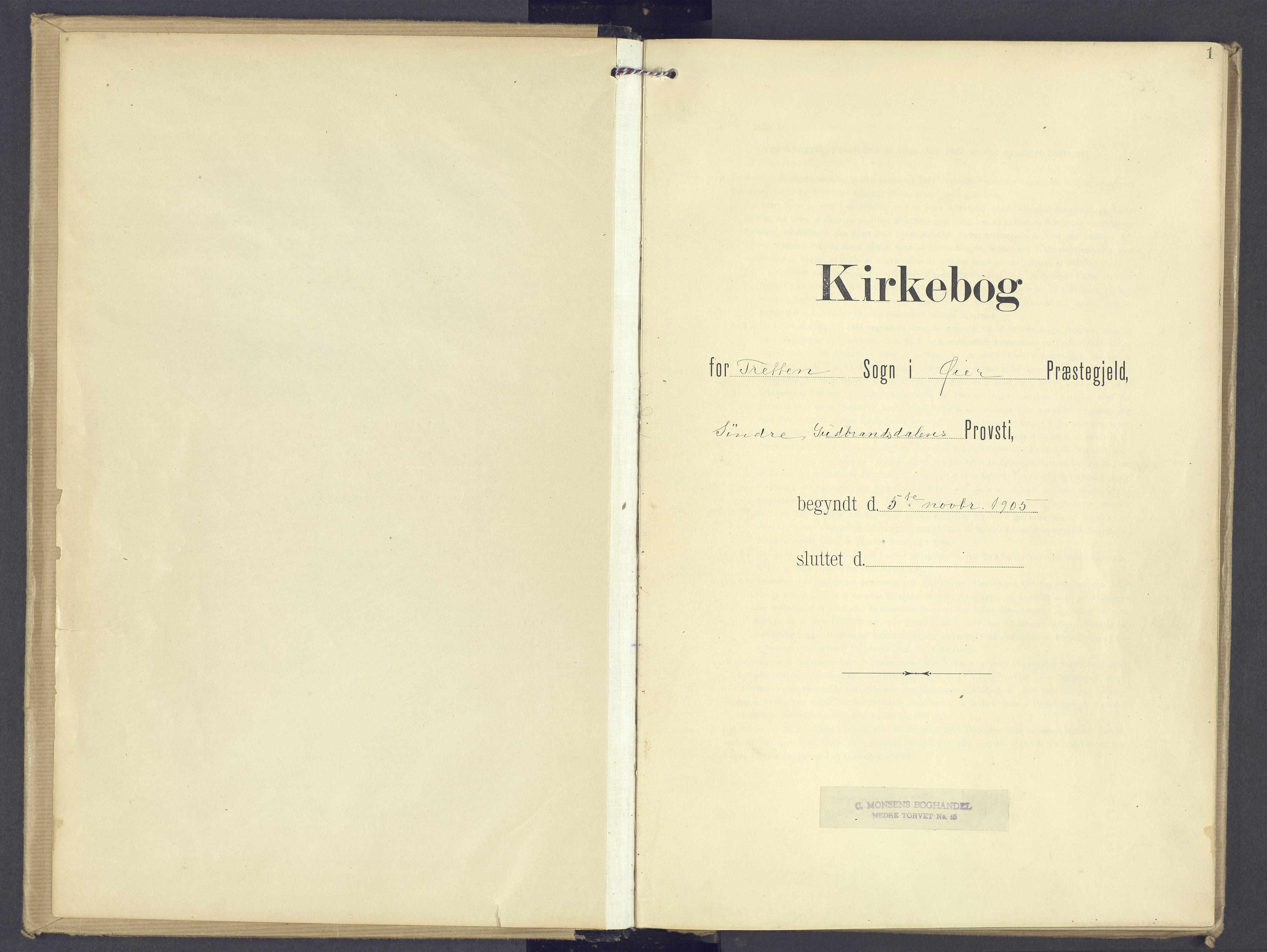 SAH, Øyer prestekontor, Ministerialbok nr. 13, 1905-1920, s. 1