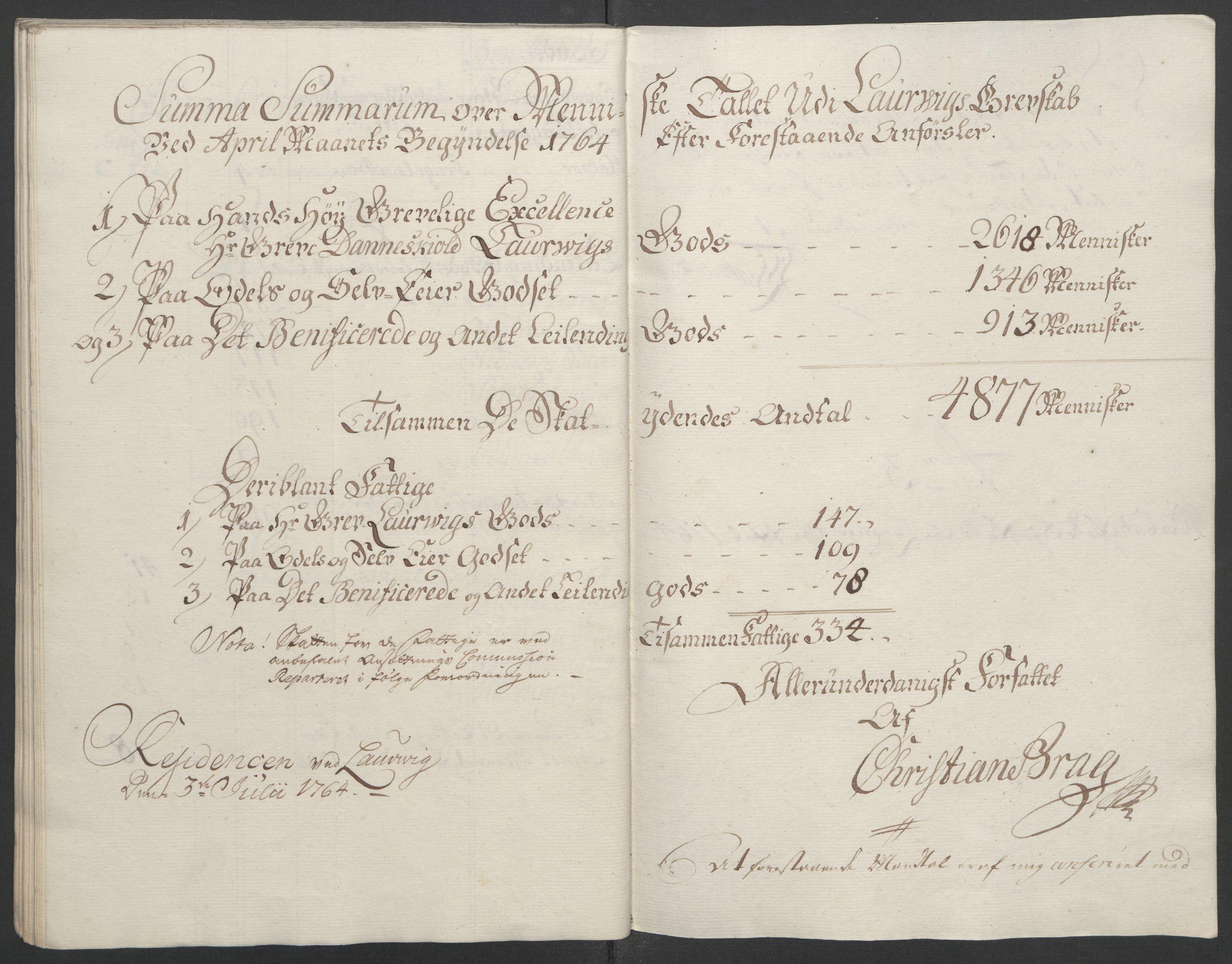 RA, Rentekammeret inntil 1814, Reviderte regnskaper, Fogderegnskap, R33/L2033: Ekstraskatten Larvik grevskap, 1762-1764, s. 538