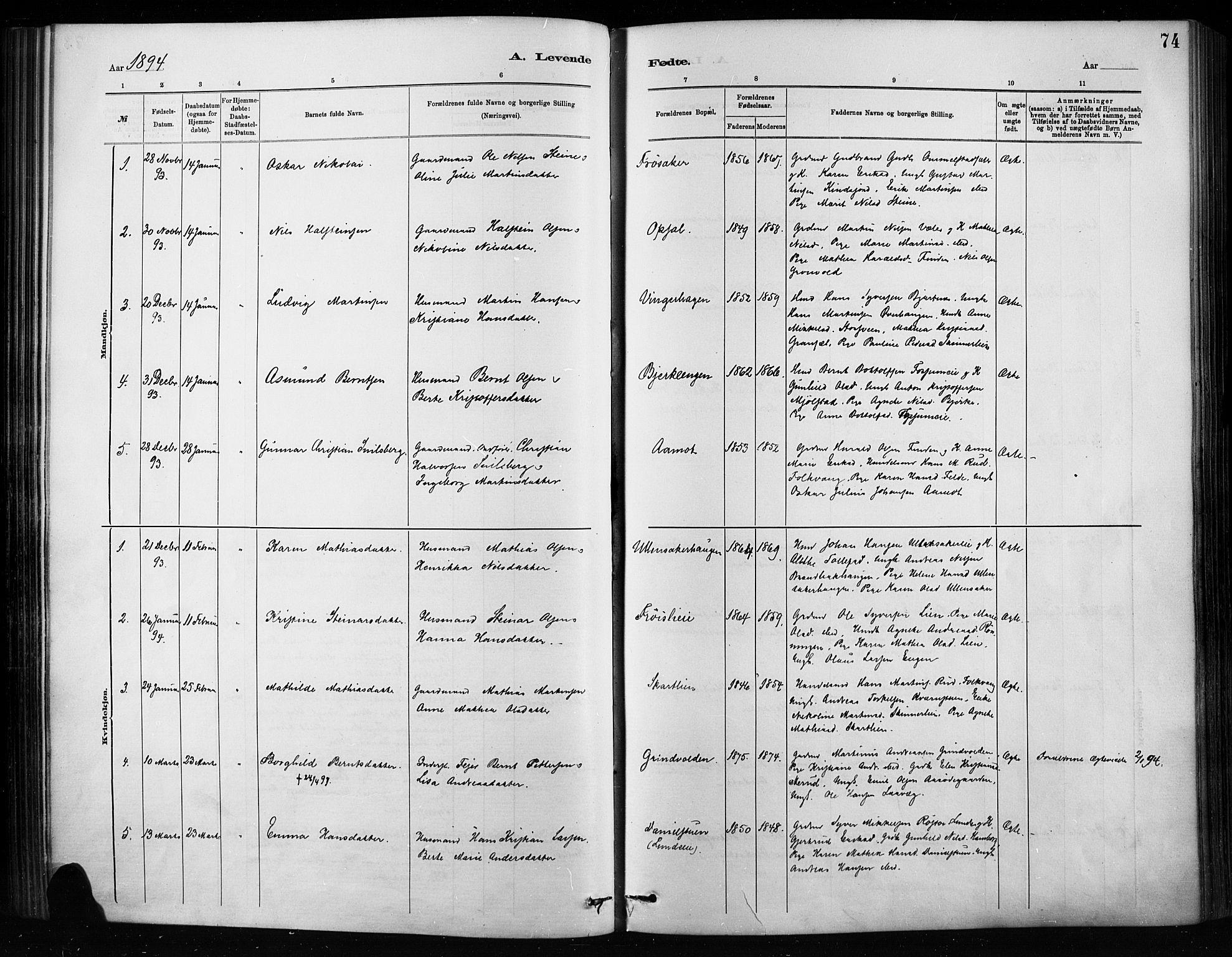 SAH, Nordre Land prestekontor, Ministerialbok nr. 4, 1882-1896, s. 74