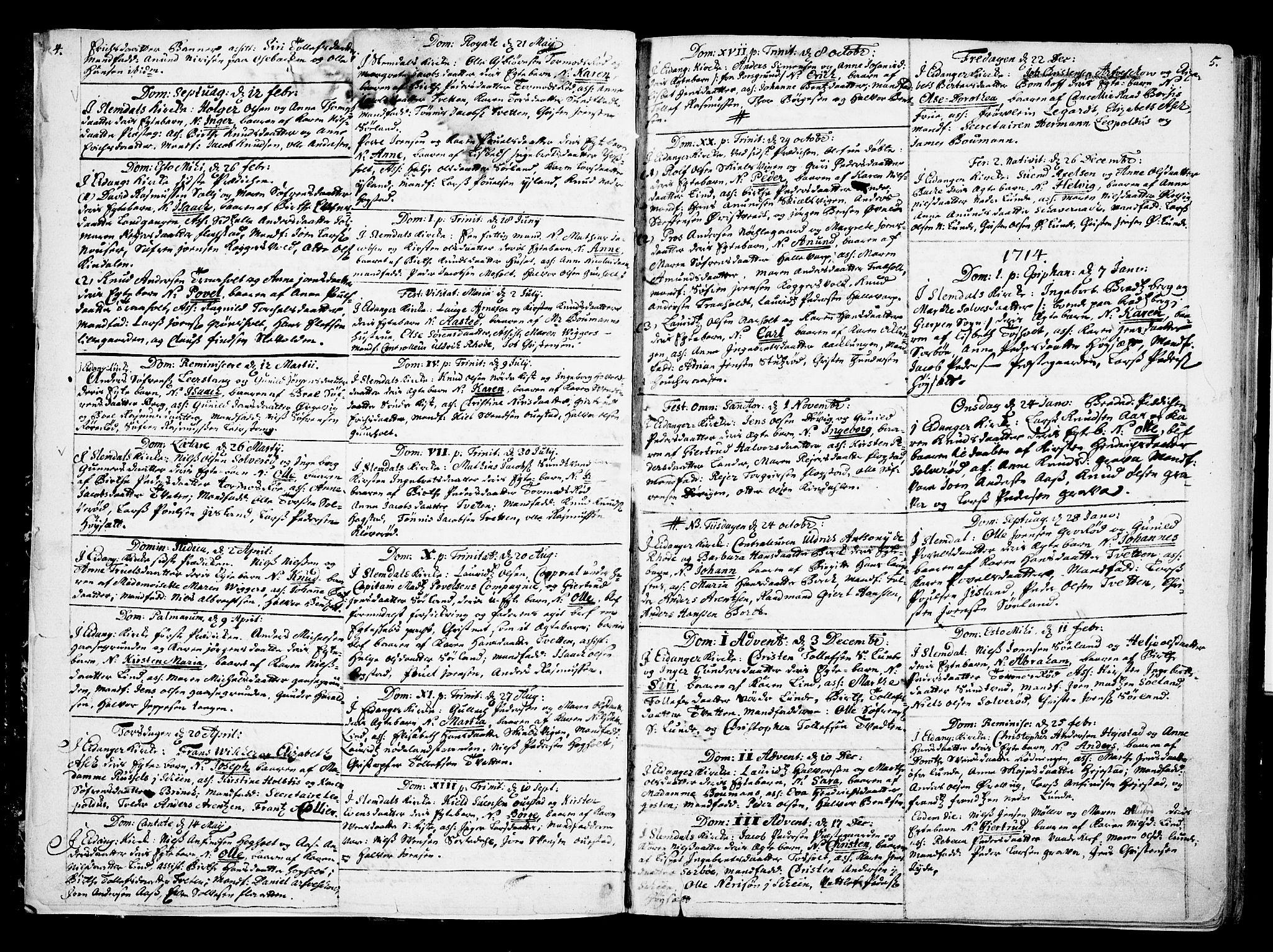 SAKO, Eidanger kirkebøker, F/Fa/L0002: Ministerialbok nr. 2, 1712-1720, s. 4-5