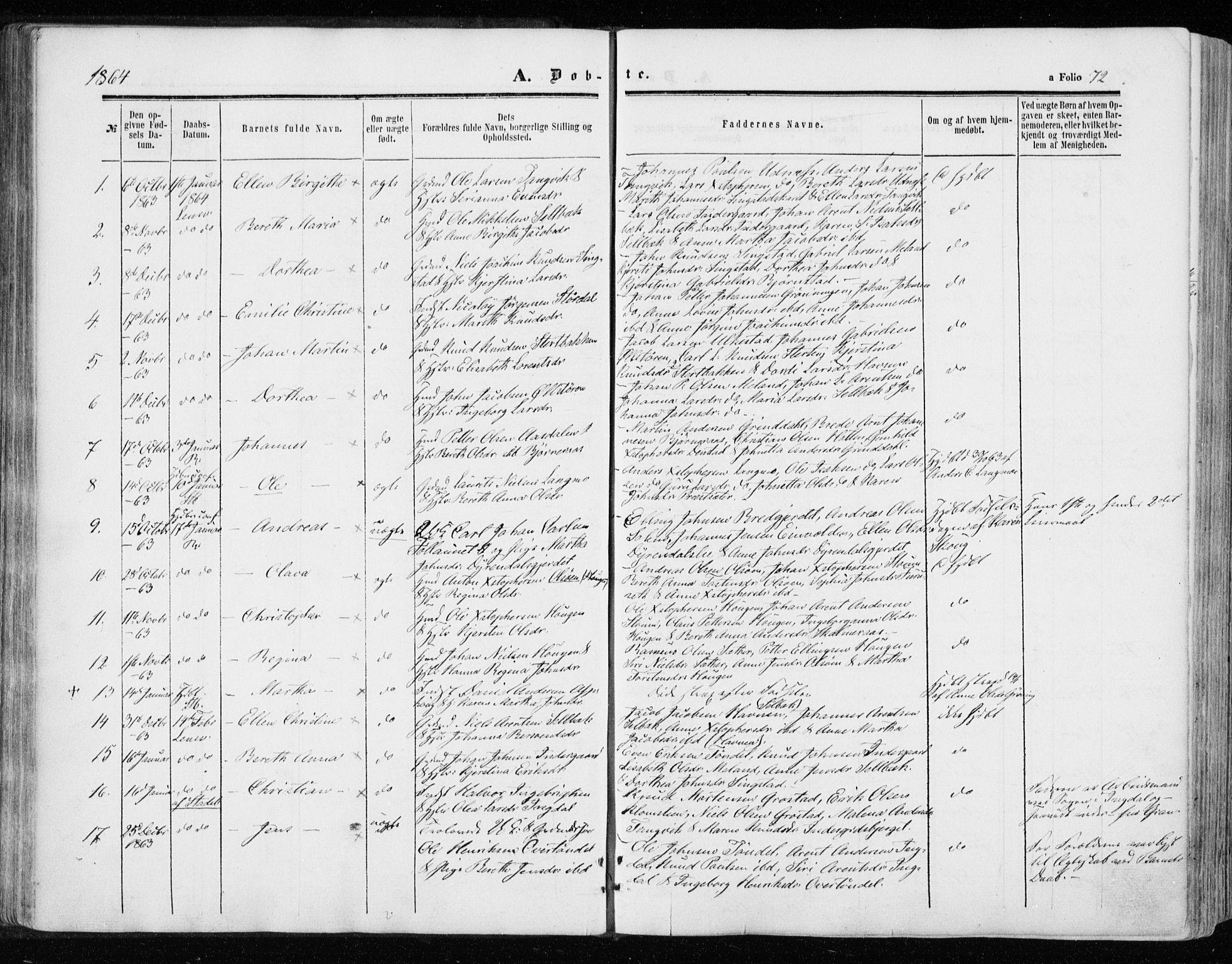 SAT, Ministerialprotokoller, klokkerbøker og fødselsregistre - Sør-Trøndelag, 646/L0612: Ministerialbok nr. 646A10, 1858-1869, s. 72