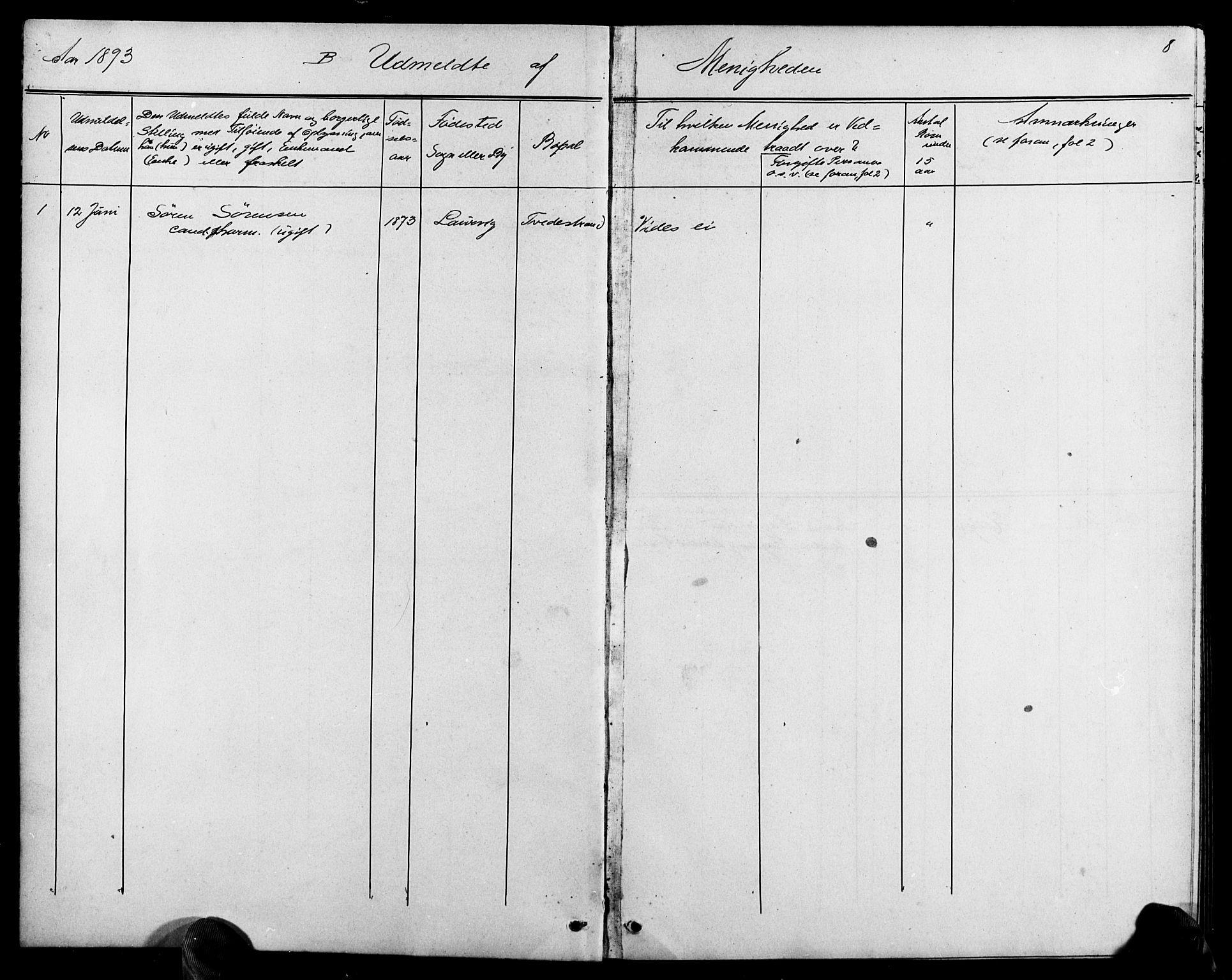 SAK, Baptistmenigheten i Tvedestrand, F/Fa/L0002: Dissenterprotokoll nr. F 1, 1892-1895, s. 8