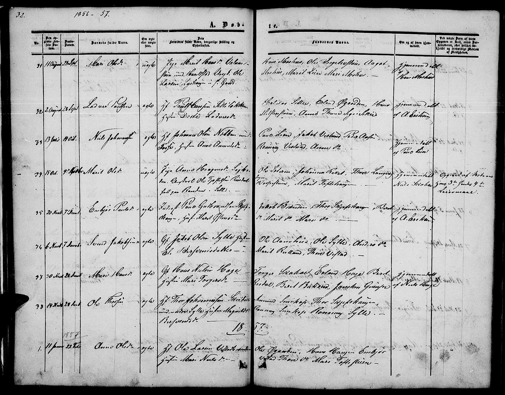 SAH, Nord-Fron prestekontor, Klokkerbok nr. 2, 1851-1883, s. 32