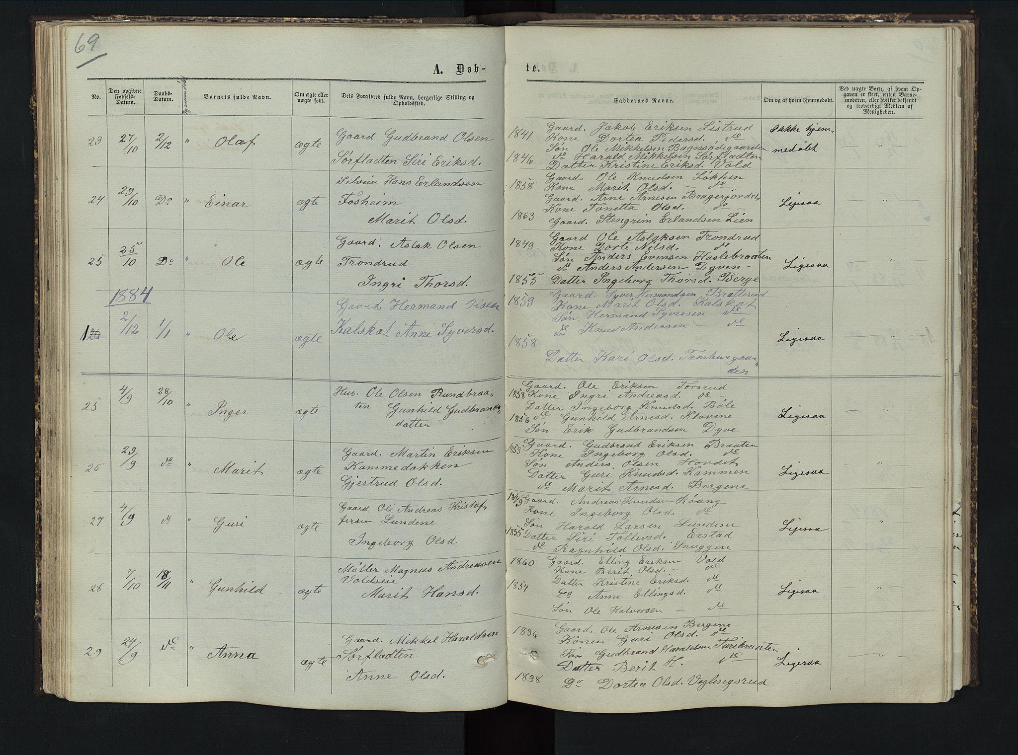 SAH, Sør-Aurdal prestekontor, Klokkerbok nr. 5, 1866-1893, s. 69