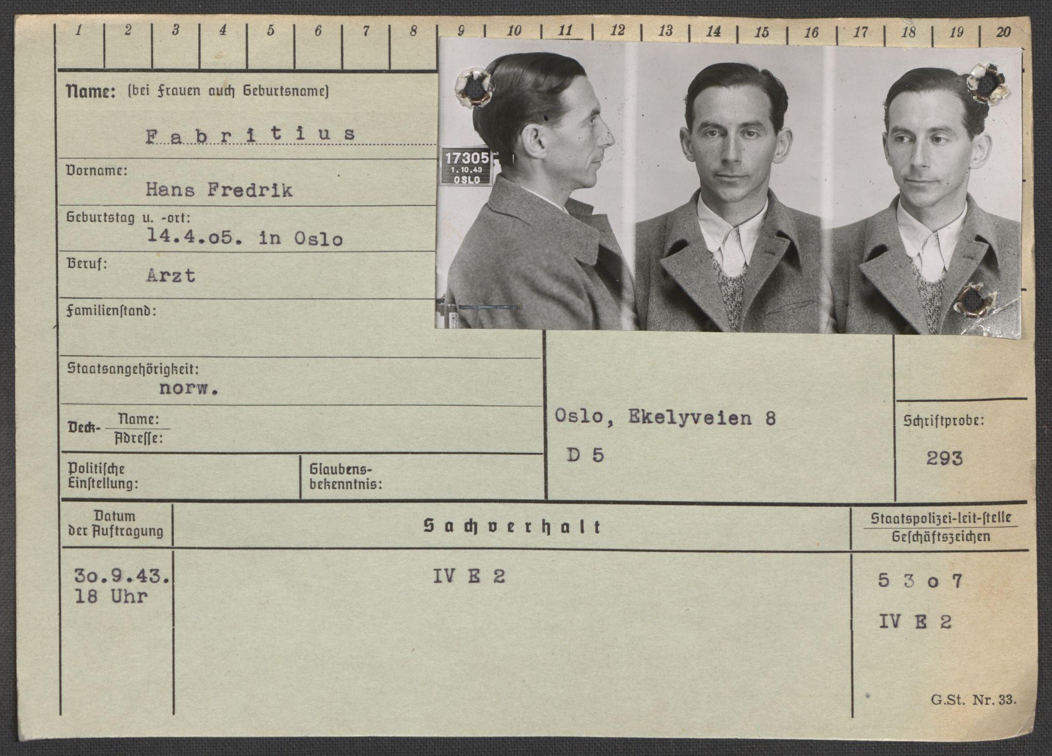 RA, Befehlshaber der Sicherheitspolizei und des SD, E/Ea/Eaa/L0003: Register over norske fanger i Møllergata 19: Eng-Hag, 1940-1945, s. 228