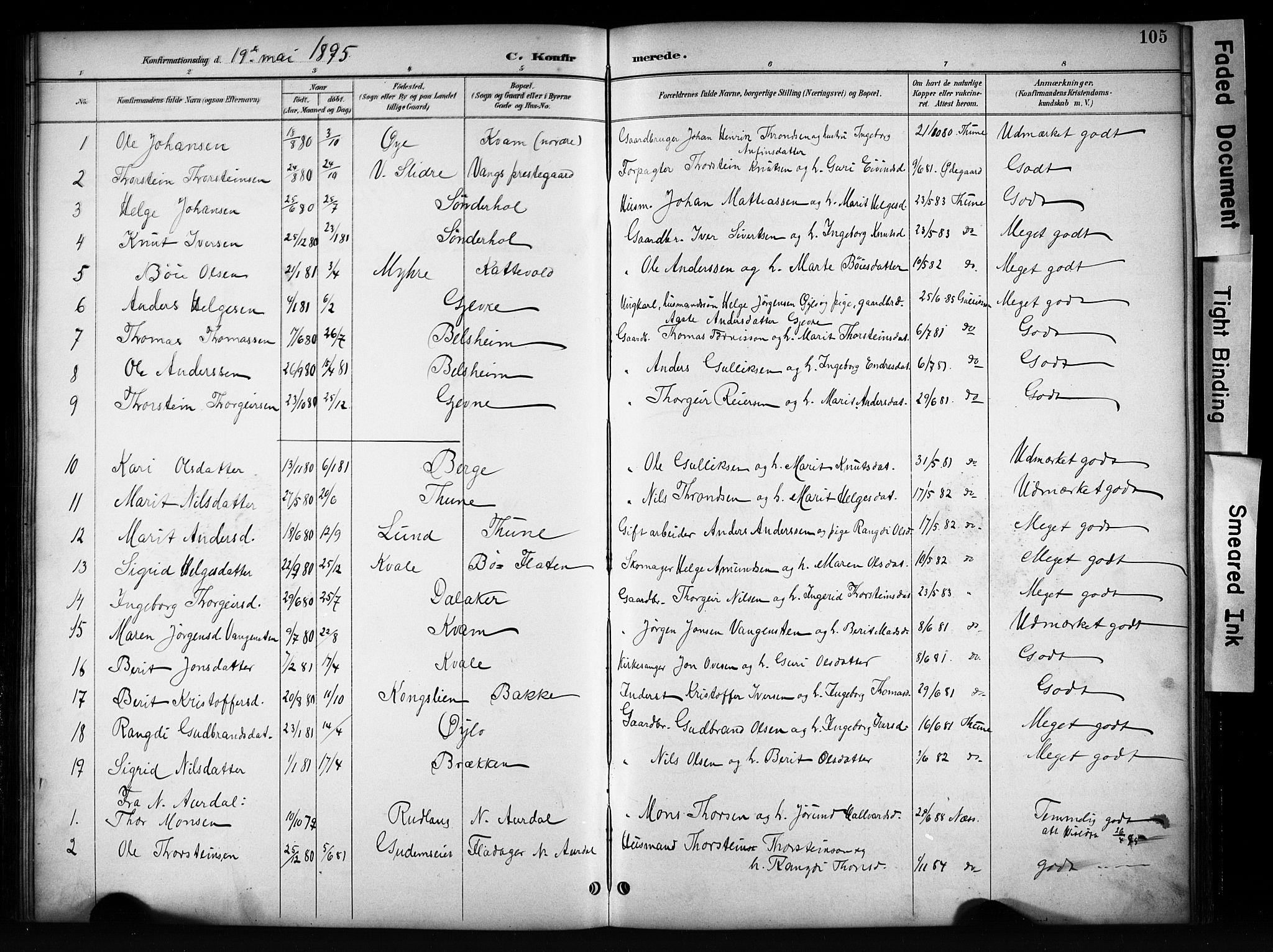 SAH, Vang prestekontor, Valdres, Klokkerbok nr. 6, 1893-1918, s. 105