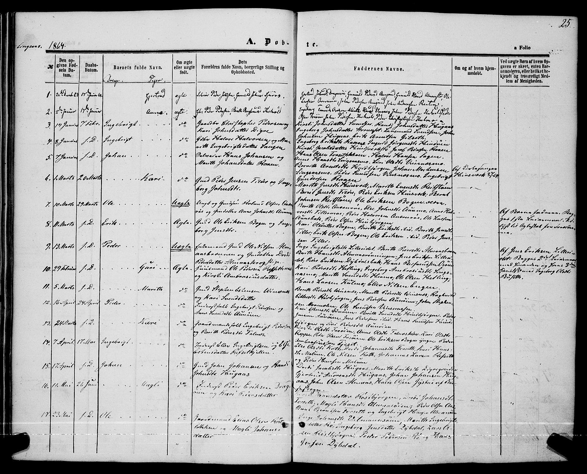 SAT, Ministerialprotokoller, klokkerbøker og fødselsregistre - Sør-Trøndelag, 685/L0967: Ministerialbok nr. 685A07 /2, 1860-1869, s. 25