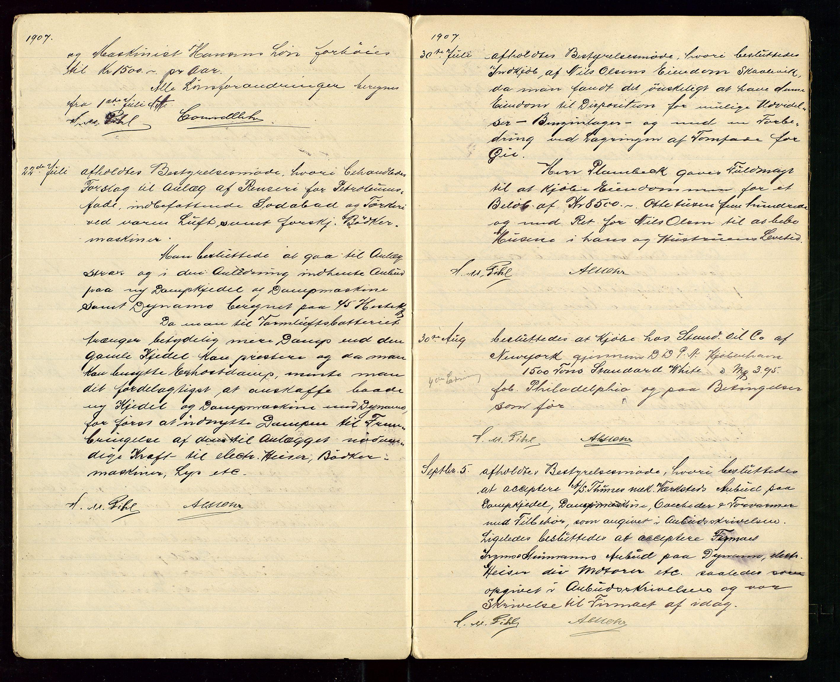 SAST, PA 1533 - A/S Vestlandske Petroleumscompani, A/Aa/L0001: Generalforsamlinger og styreprotokoller, 1907-1915, s. 3