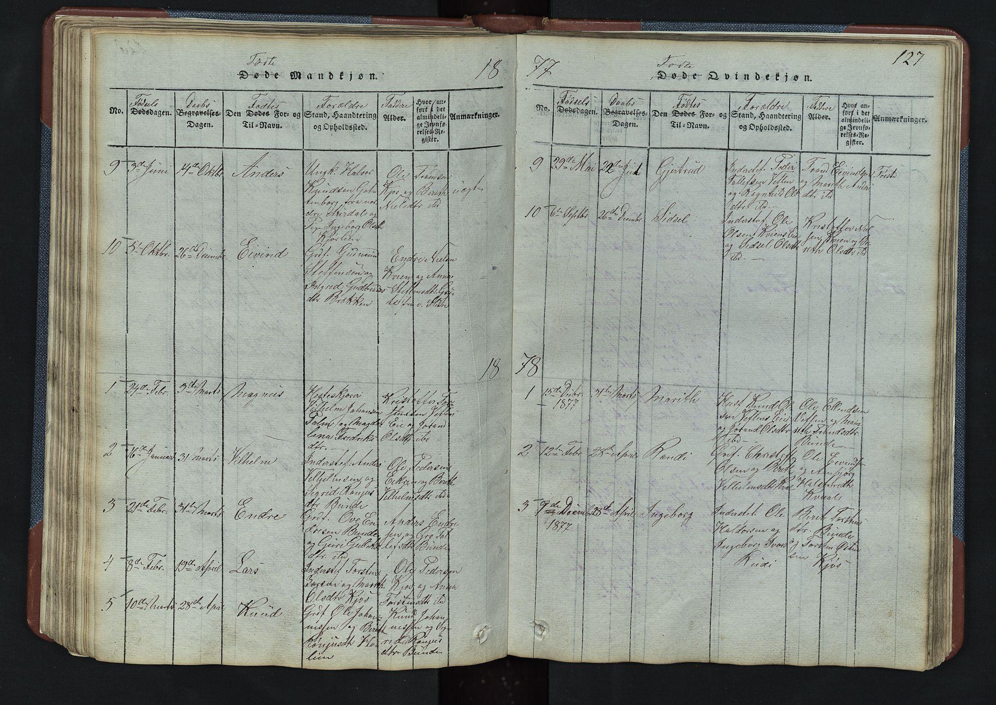 SAH, Vang prestekontor, Valdres, Klokkerbok nr. 3, 1814-1892, s. 127