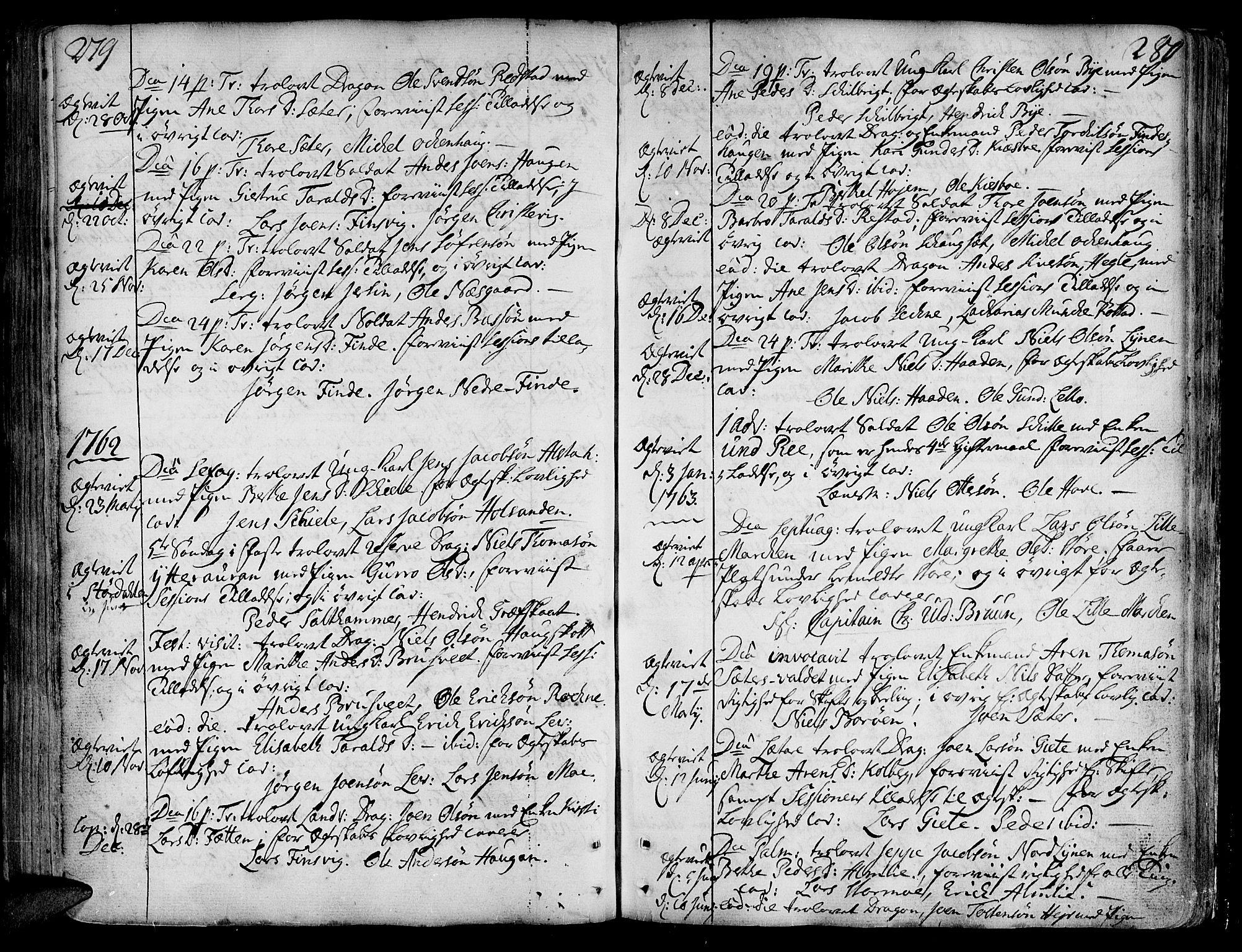 SAT, Ministerialprotokoller, klokkerbøker og fødselsregistre - Nord-Trøndelag, 717/L0141: Ministerialbok nr. 717A01, 1747-1803, s. 279-280