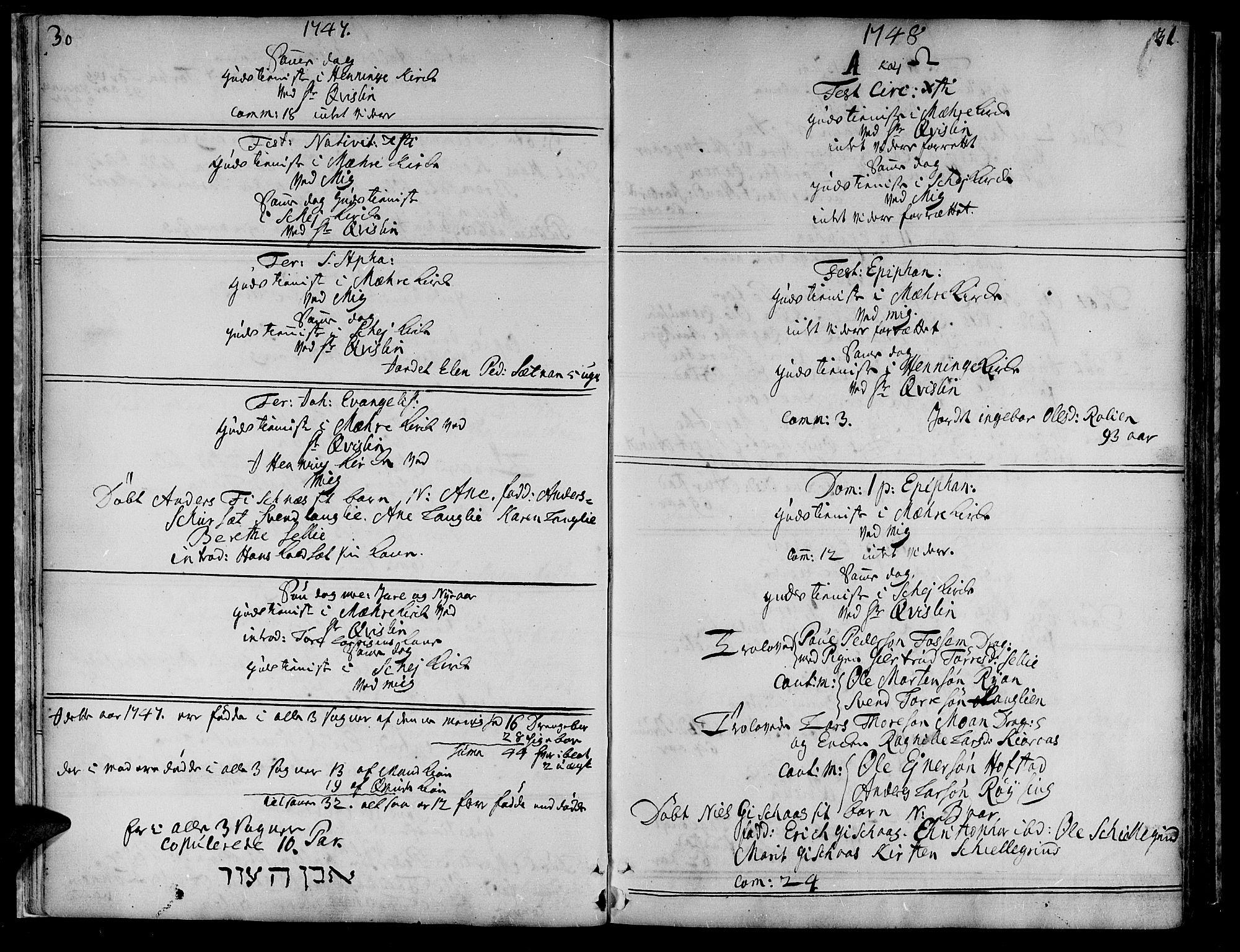 SAT, Ministerialprotokoller, klokkerbøker og fødselsregistre - Nord-Trøndelag, 735/L0330: Ministerialbok nr. 735A01, 1740-1766, s. 30-31