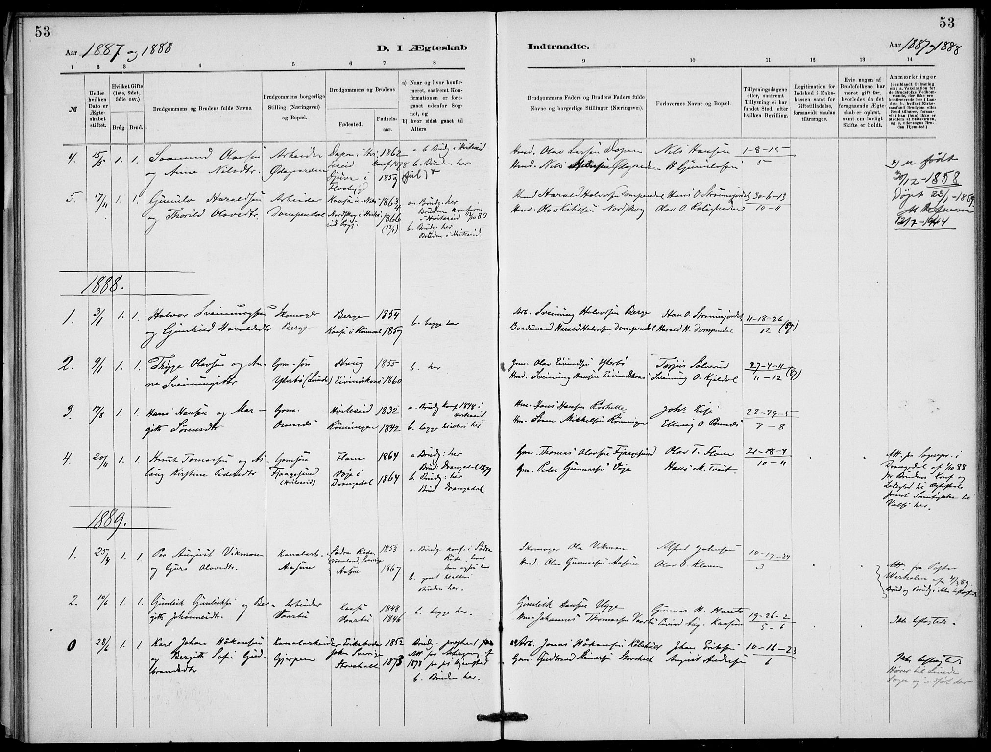 SAKO, Lunde kirkebøker, F/Fb/L0003: Ministerialbok nr. II 3, 1882-1891, s. 53