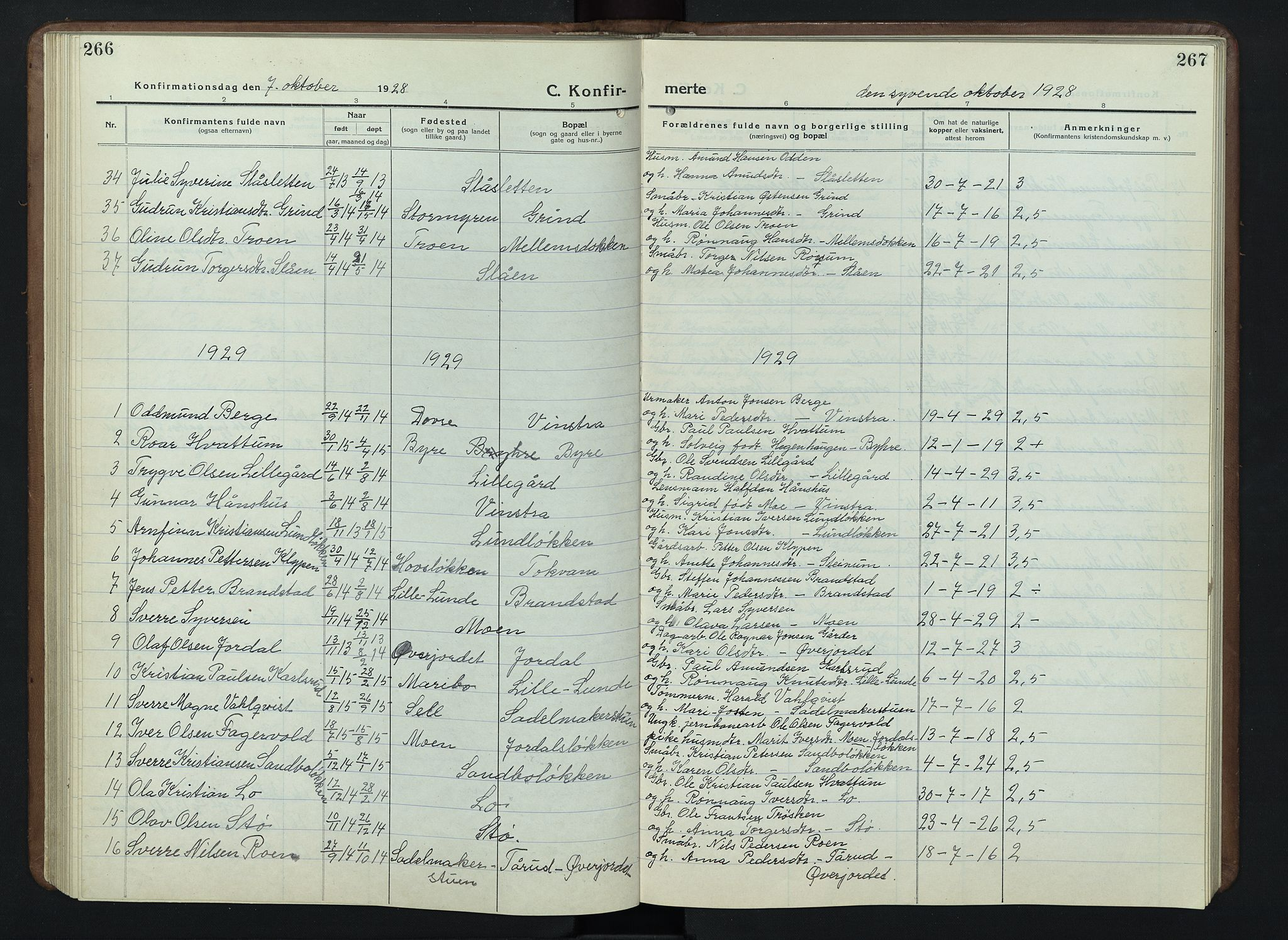 SAH, Nord-Fron prestekontor, Klokkerbok nr. 7, 1915-1946, s. 266-267