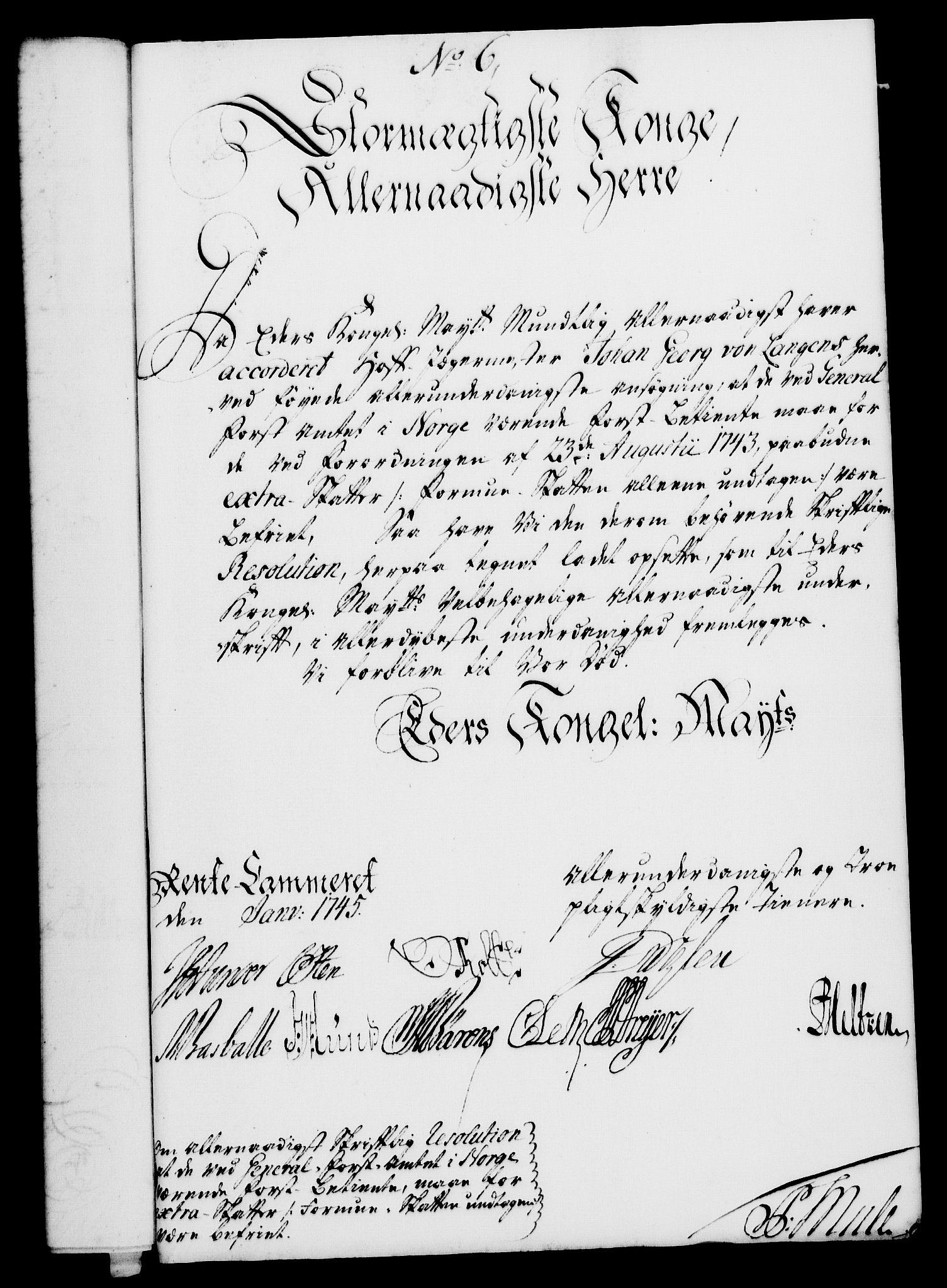 RA, Rentekammeret, Kammerkanselliet, G/Gf/Gfa/L0028: Norsk relasjons- og resolusjonsprotokoll (merket RK 52.28), 1745-1746, s. 58