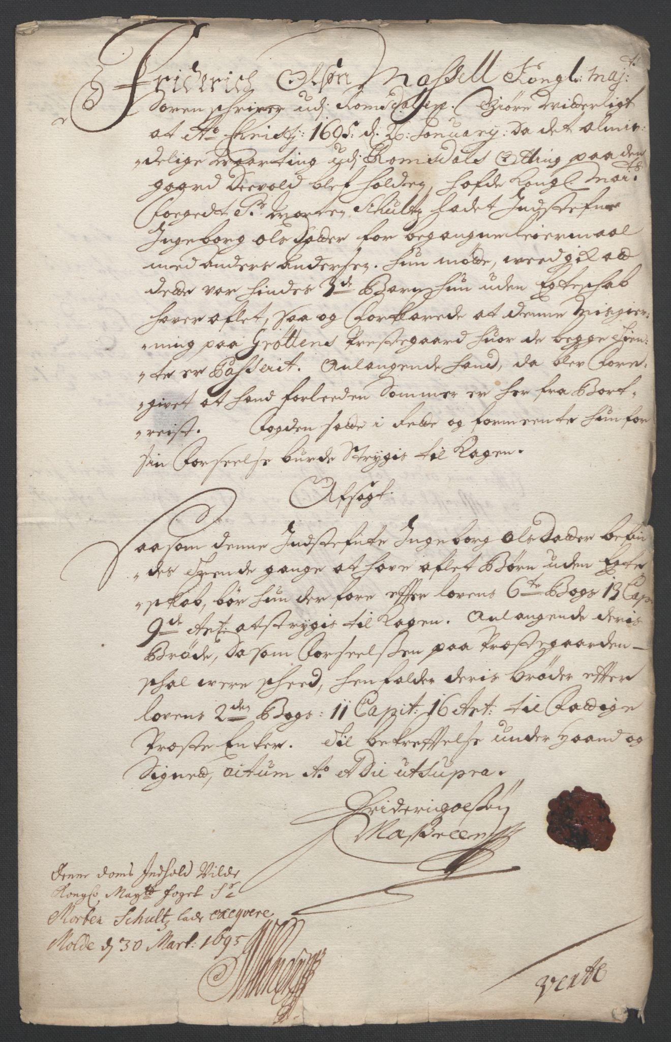 RA, Rentekammeret inntil 1814, Reviderte regnskaper, Fogderegnskap, R55/L3652: Fogderegnskap Romsdal, 1695-1696, s. 148