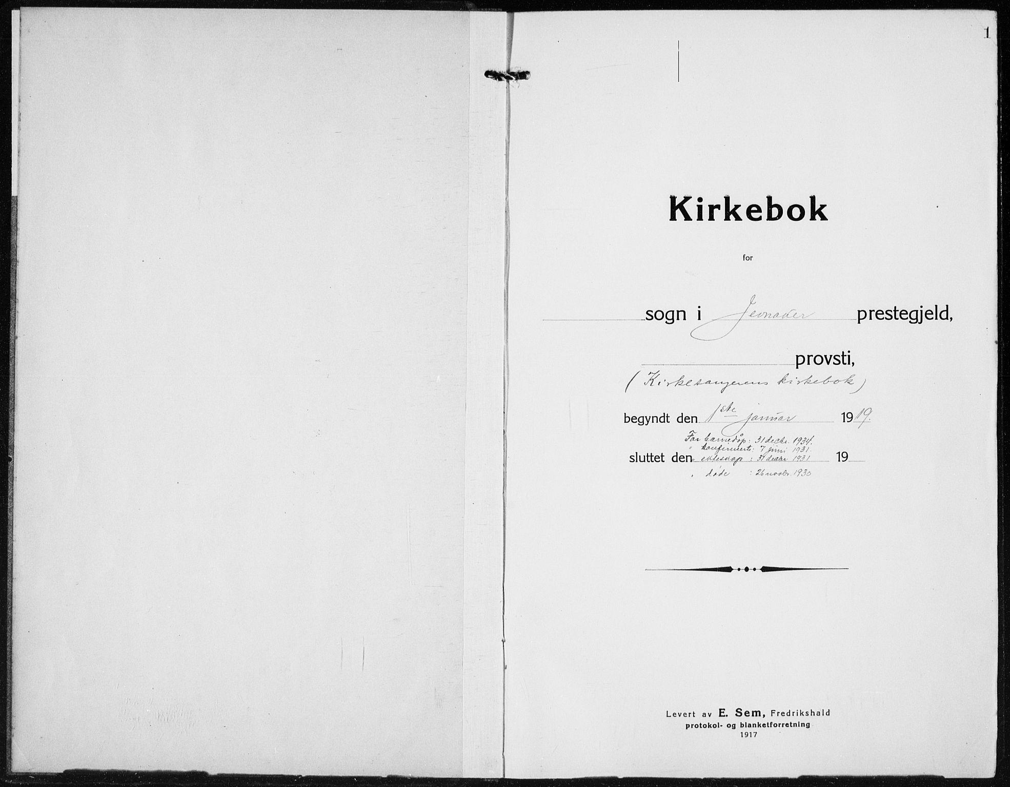 SAH, Jevnaker prestekontor, Klokkerbok nr. 5, 1919-1934, s. 1