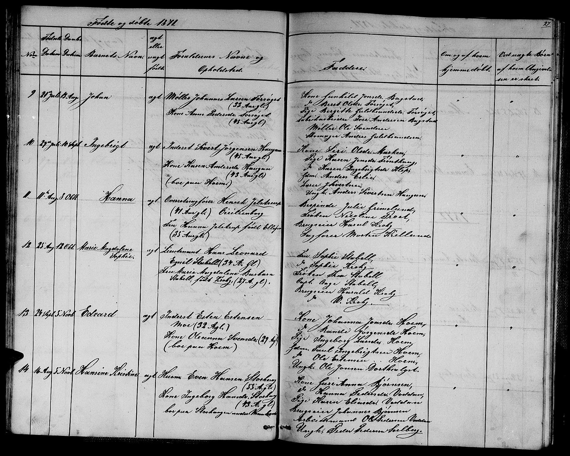 SAT, Ministerialprotokoller, klokkerbøker og fødselsregistre - Sør-Trøndelag, 611/L0353: Klokkerbok nr. 611C01, 1854-1881, s. 27